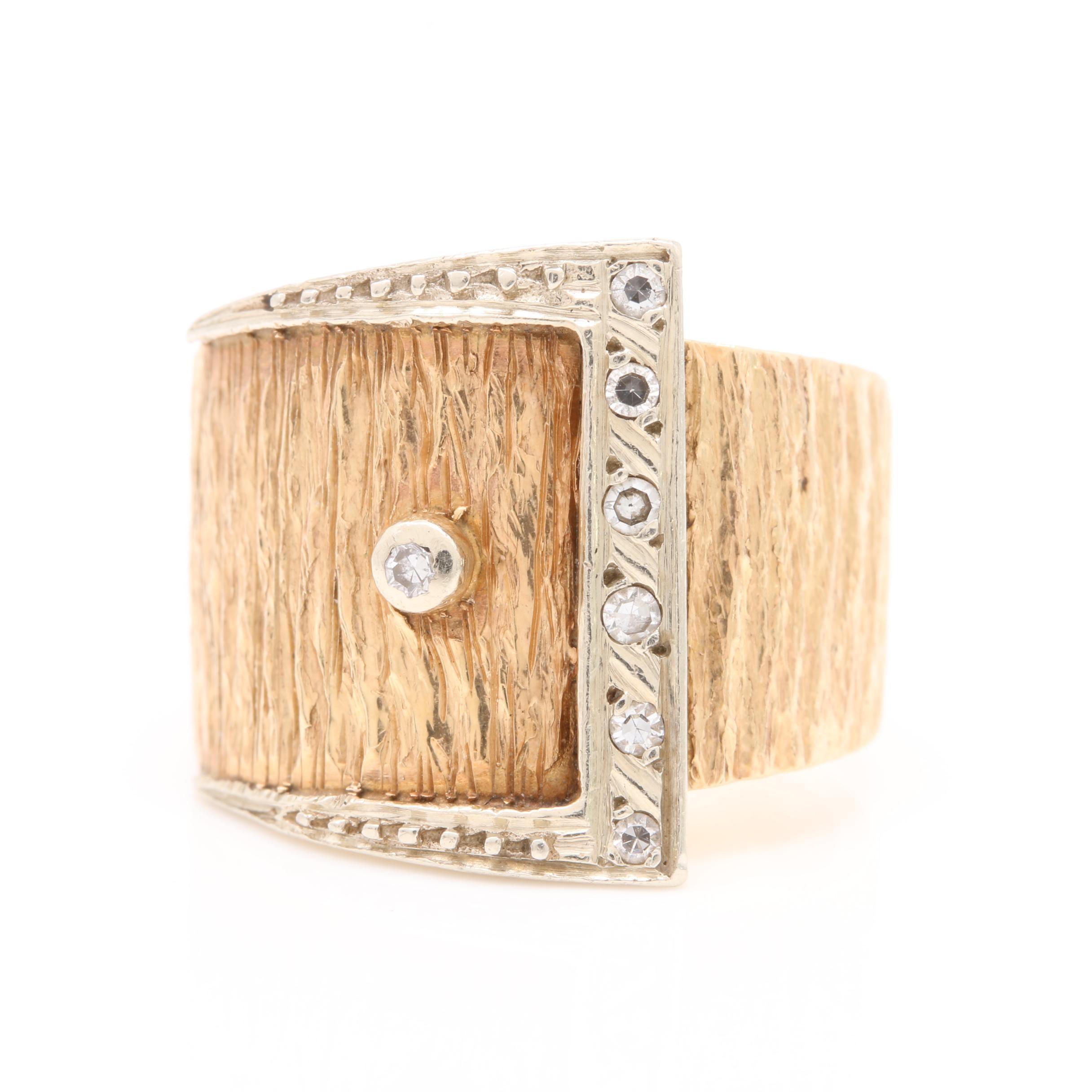 14K Yellow Gold Diamond Belt Buckle Ring