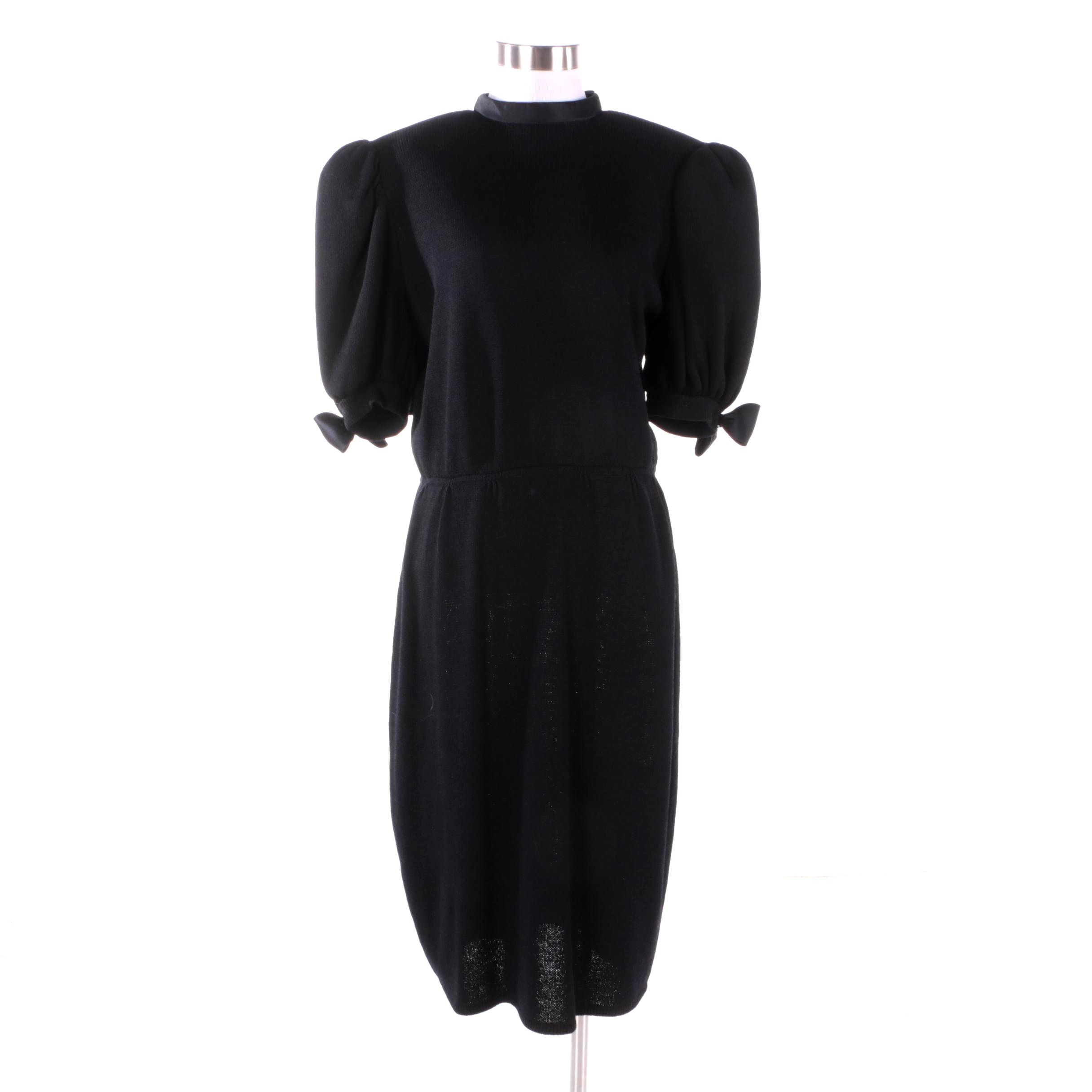 1980s Vintage St. John Black Knit Cocktail Dress with Bow and Rhinestone Detail