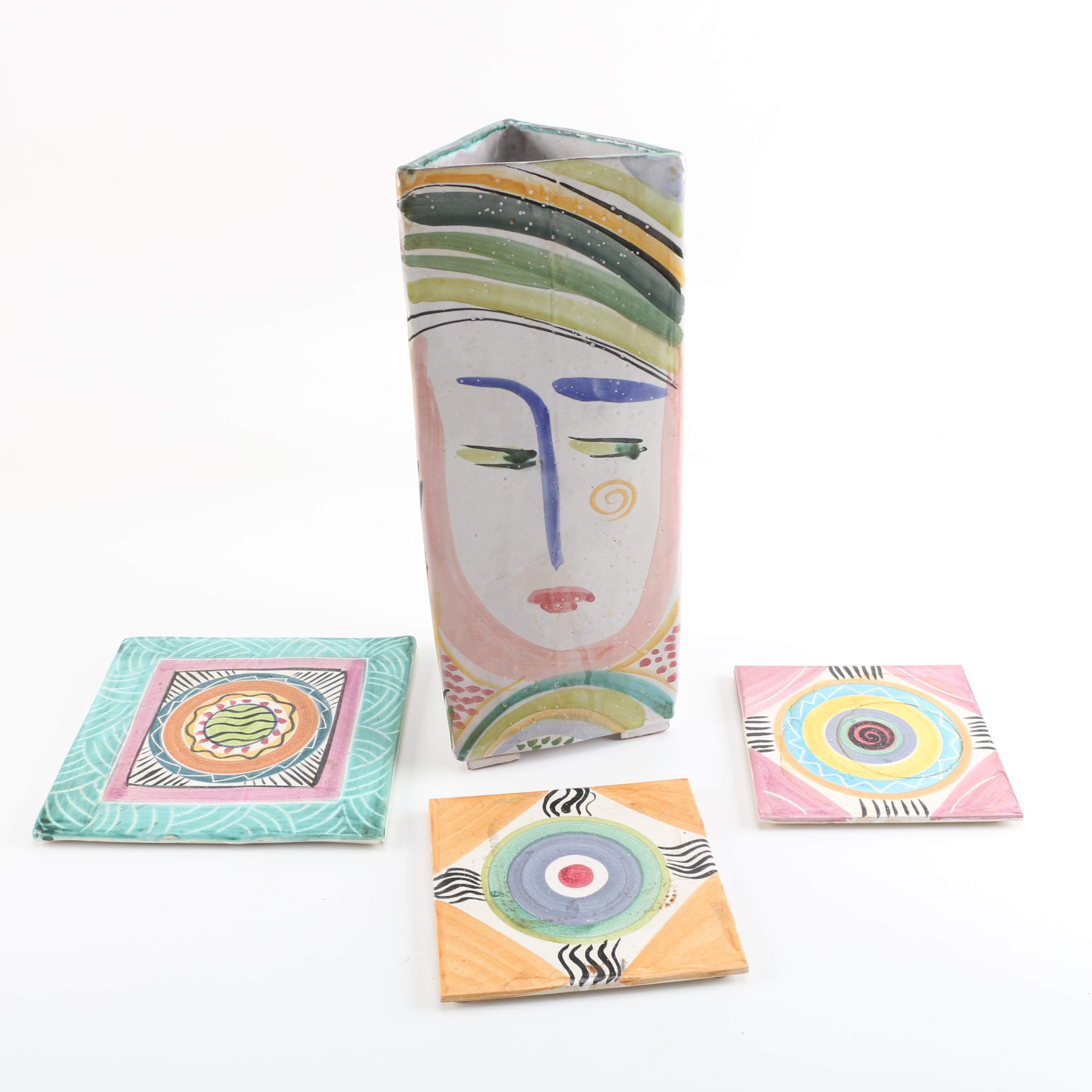 Mary George Kronstadt Earthenware Vase and A&R Johnson Tiles