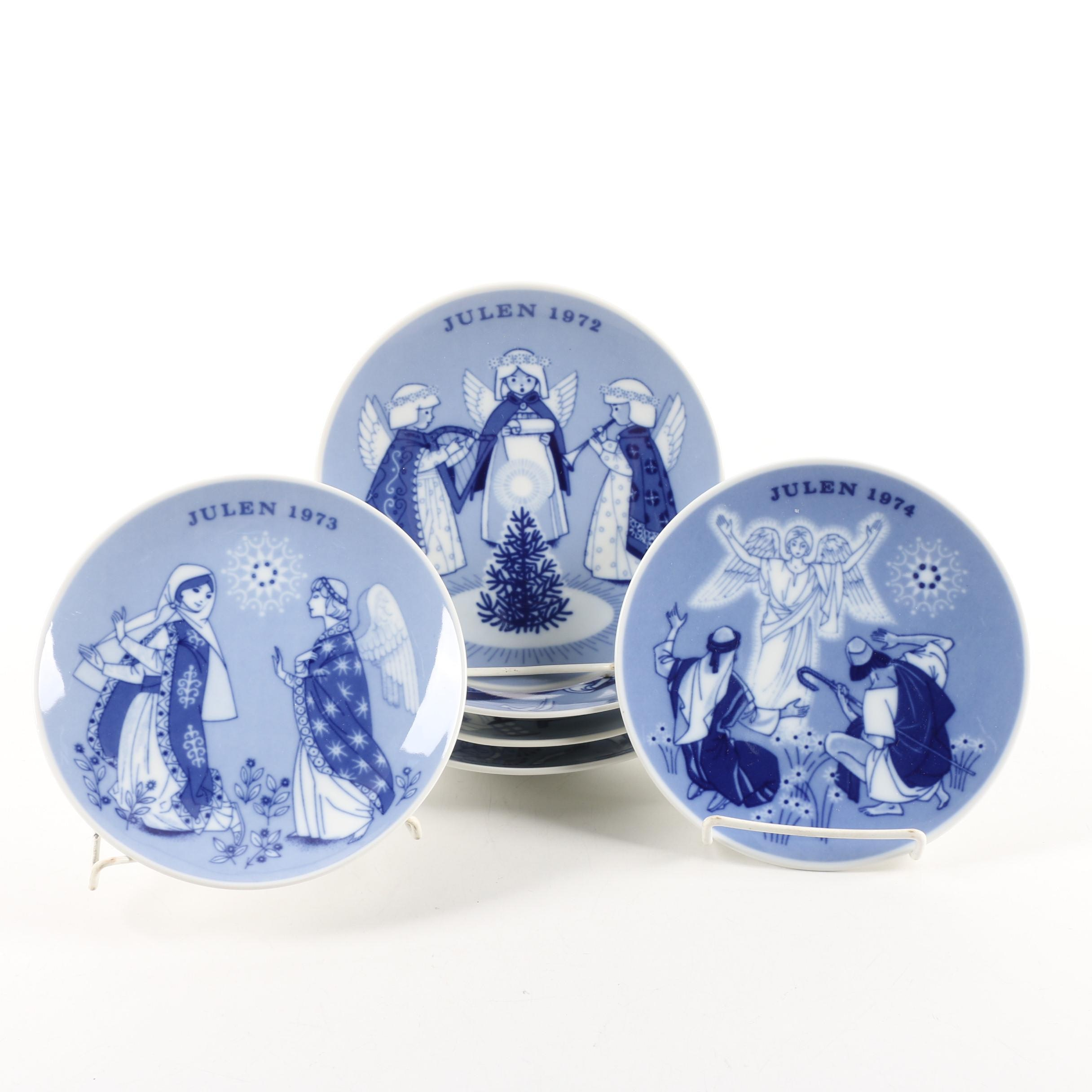 1970s Norwegian Porsgrund Porcelain Christmas Collector Plates