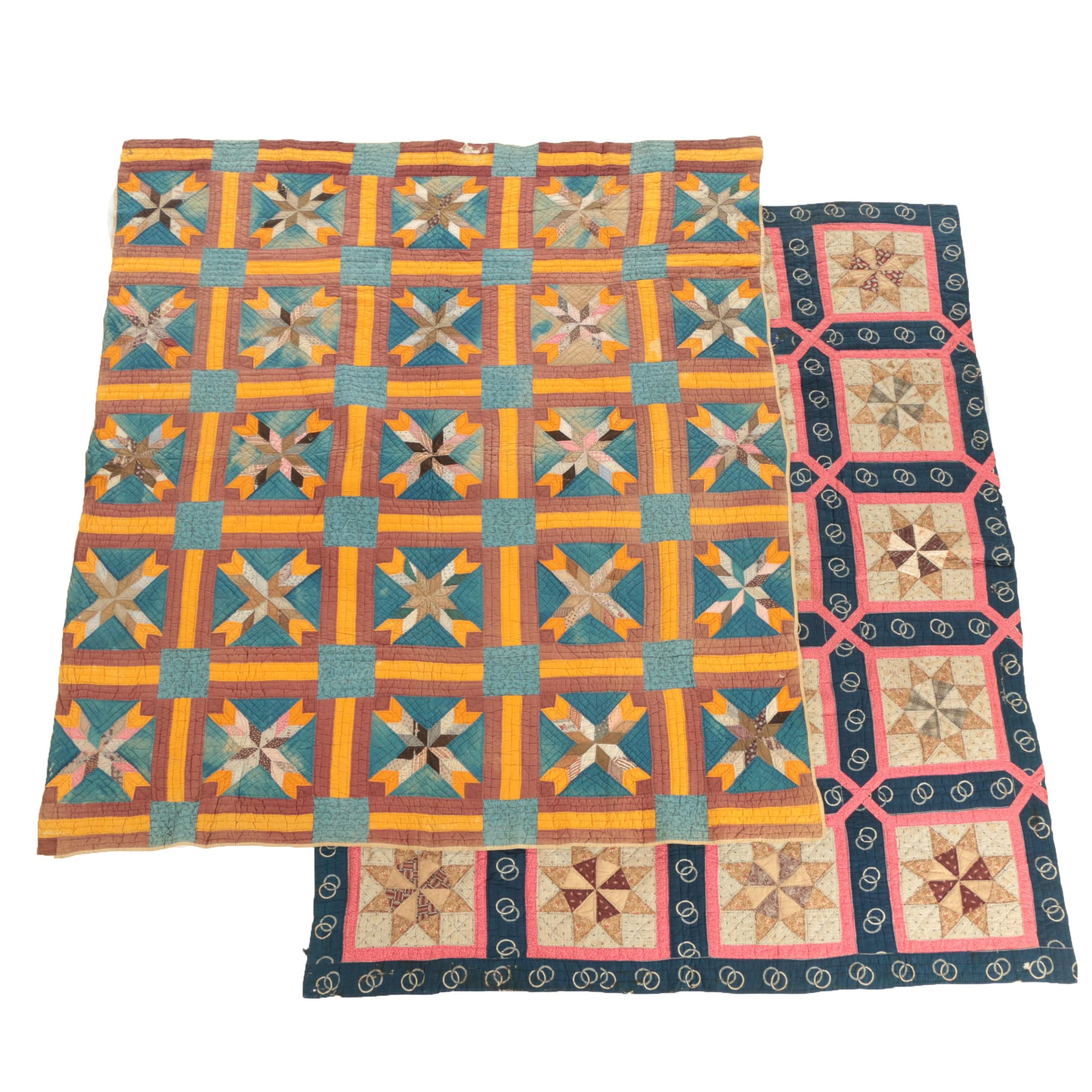 "Antique Handmade ""Pinwheel Star"" and ""Hunter's Star"" Block Quilts"