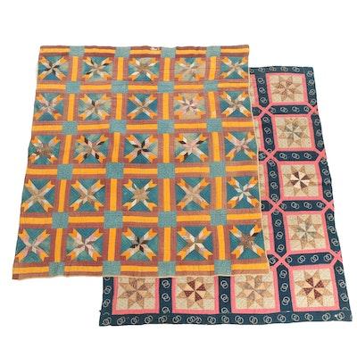"Antique Handmade ""Pinwheel Star"" and ""Hunter's Star"" Block Quilts"