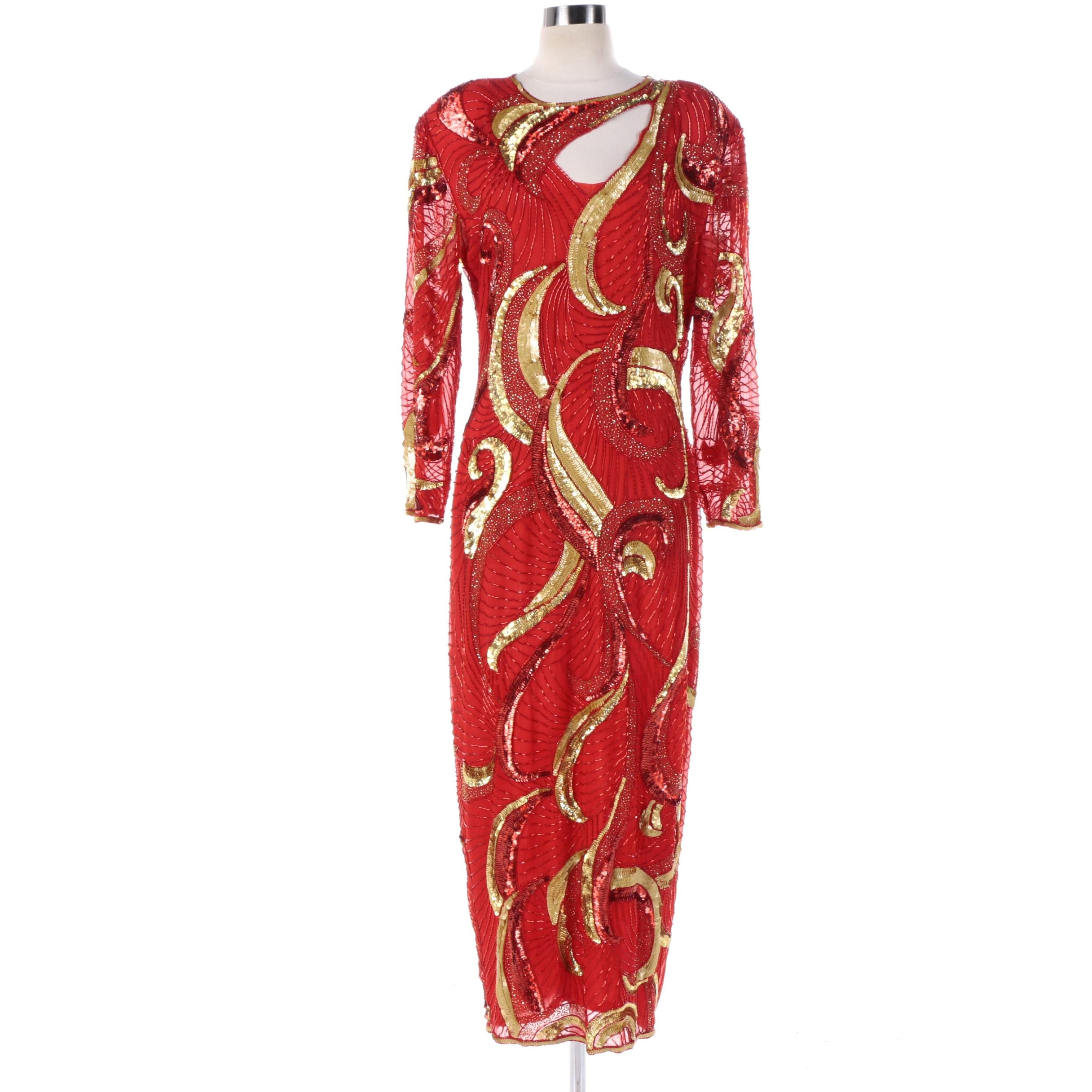 1980s Vintage Jas Jas Designs Red Silk Fully Sequined and Beaded Evening Dress