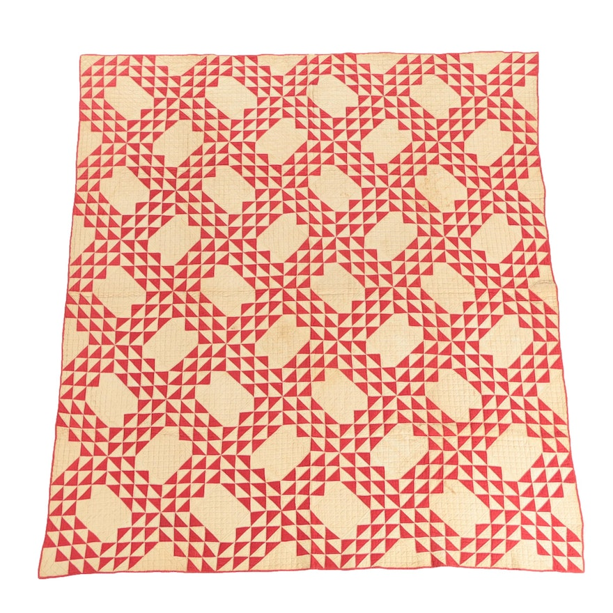 Antique Handmade Red And White Ocean Waves Quilt Ebth