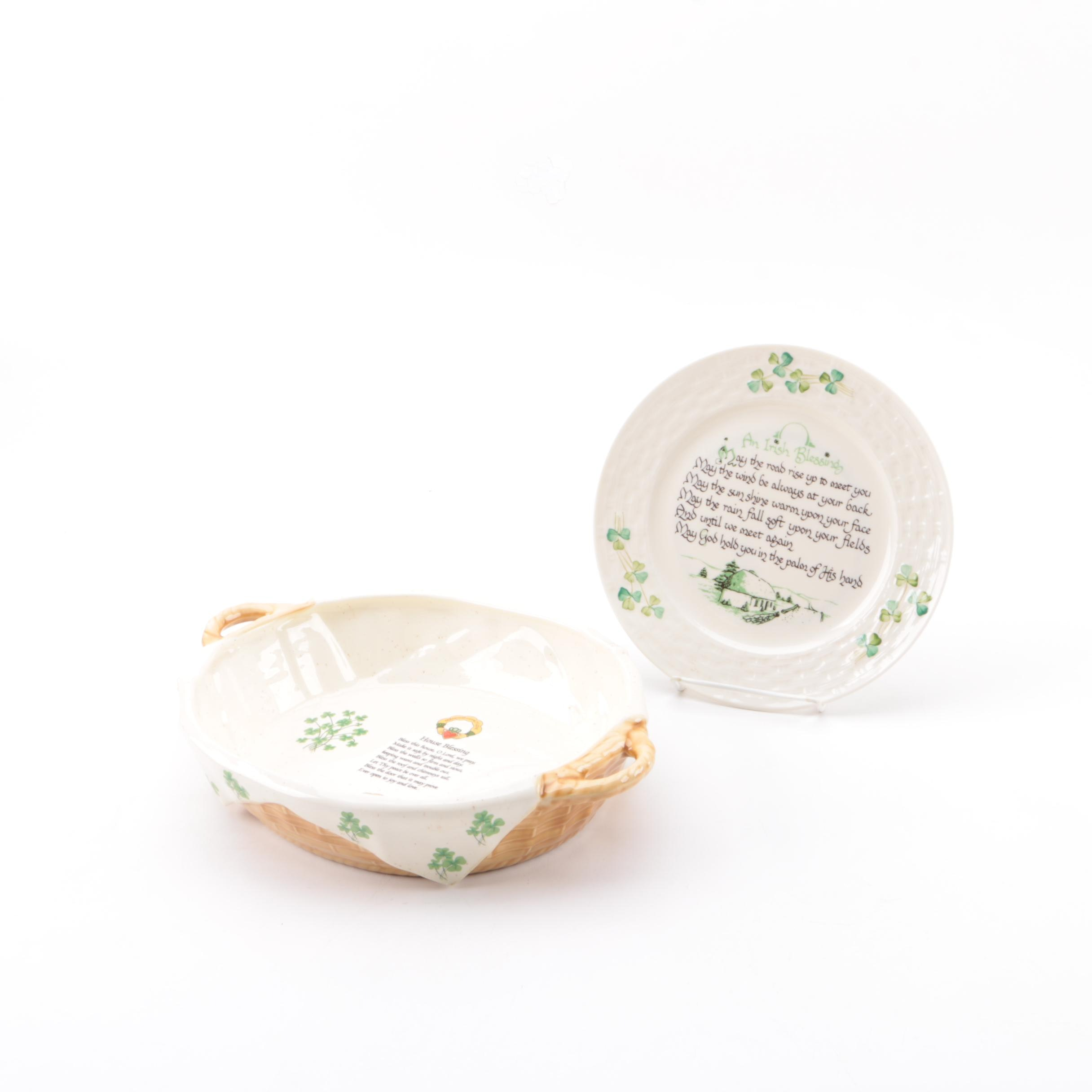 Irish Blessing Dishes Including Belleek