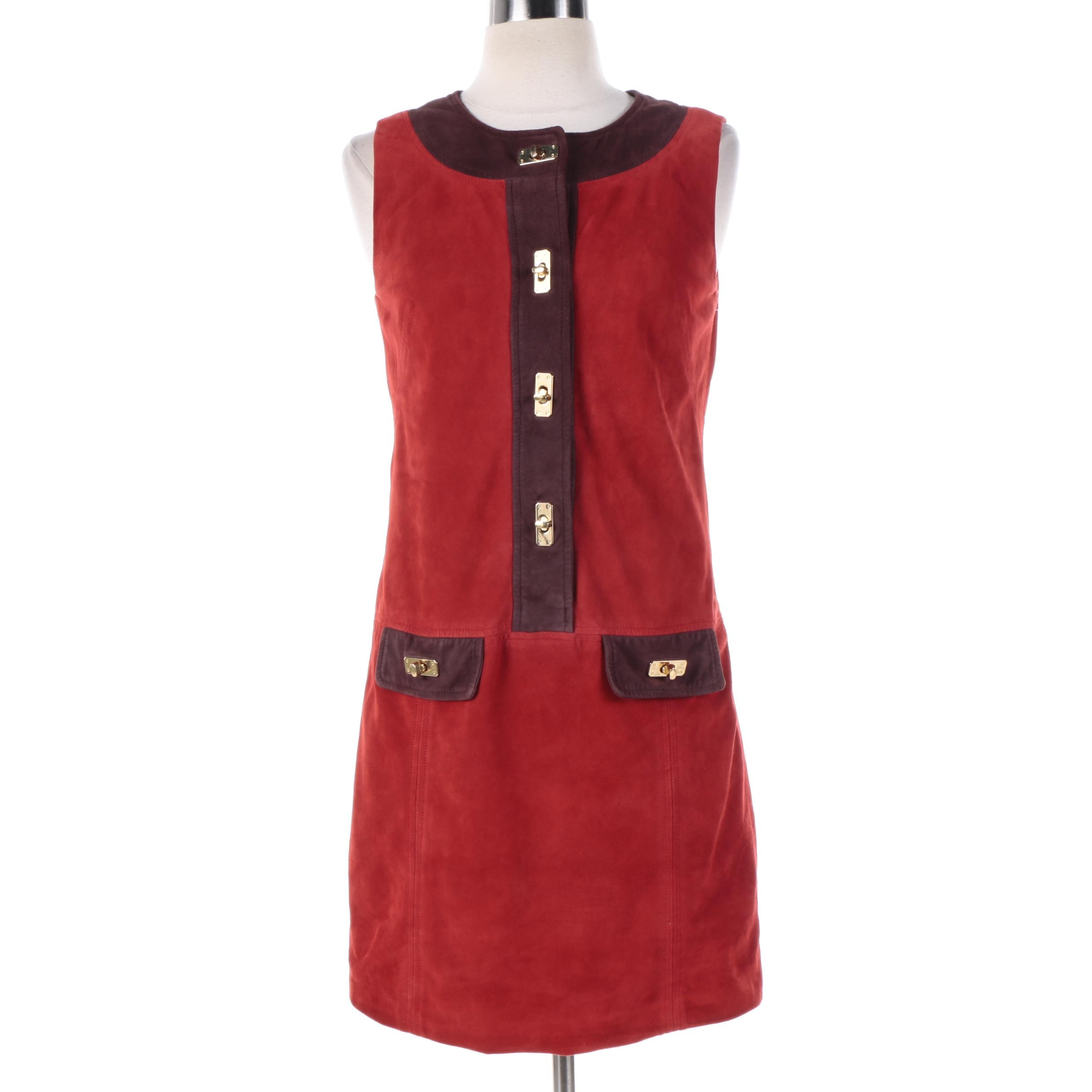Vintage Milly of New York Burgundy and Brown Suede Sleeveless Mod Dress