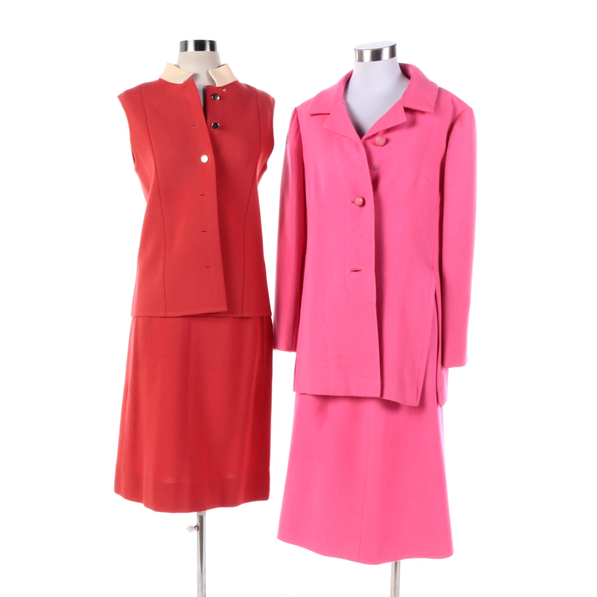Mid-20th Century Vintage Colorful Silk and Wool Mod Skirt Suits