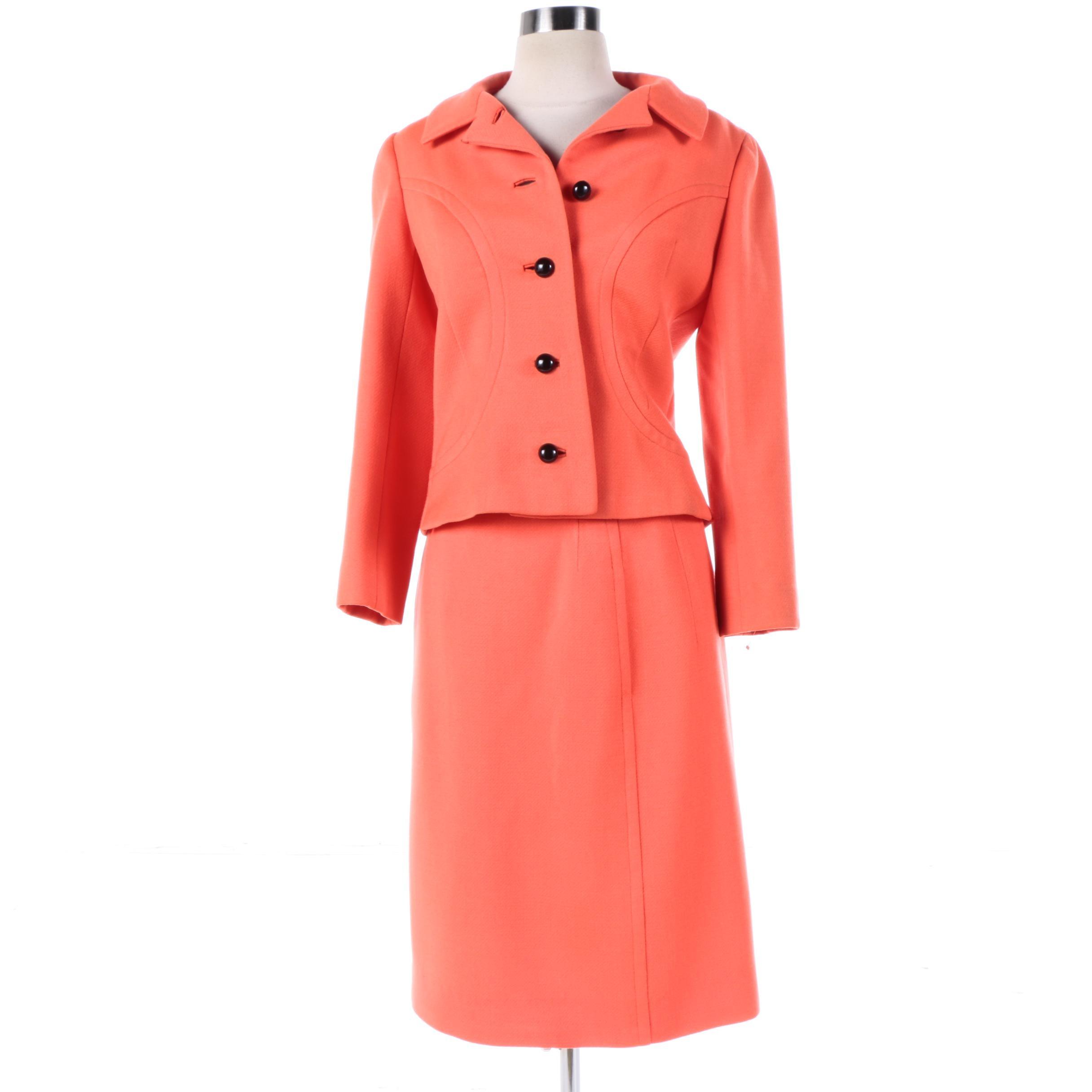 1960s Vintage Davidow New York Neon Orange Virgin Wool Skirt Suit