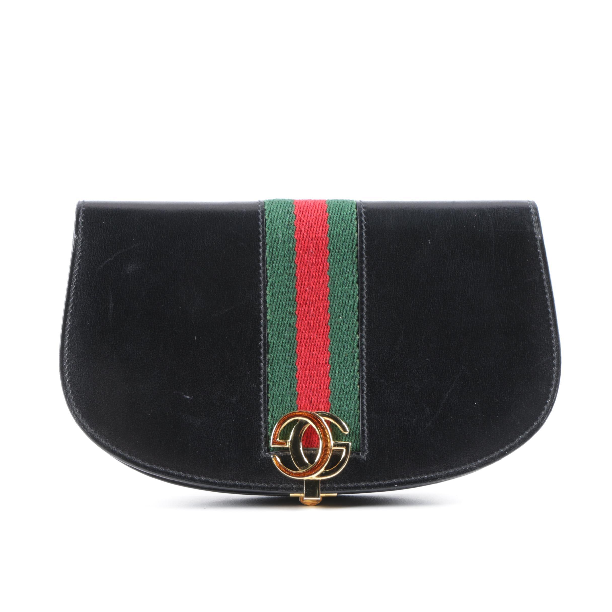 Vintage Gucci Web Stripe Black Leather Saddle Clutch