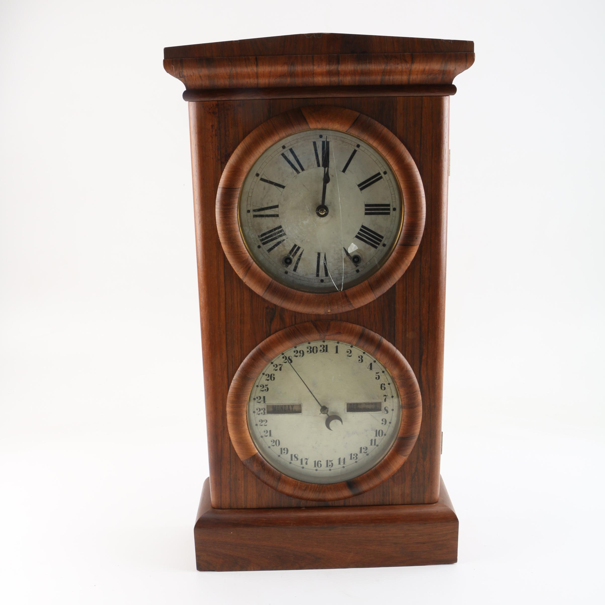 19th Century Seth Thomas Rosewood and Walnut Wall Clock and Calendar