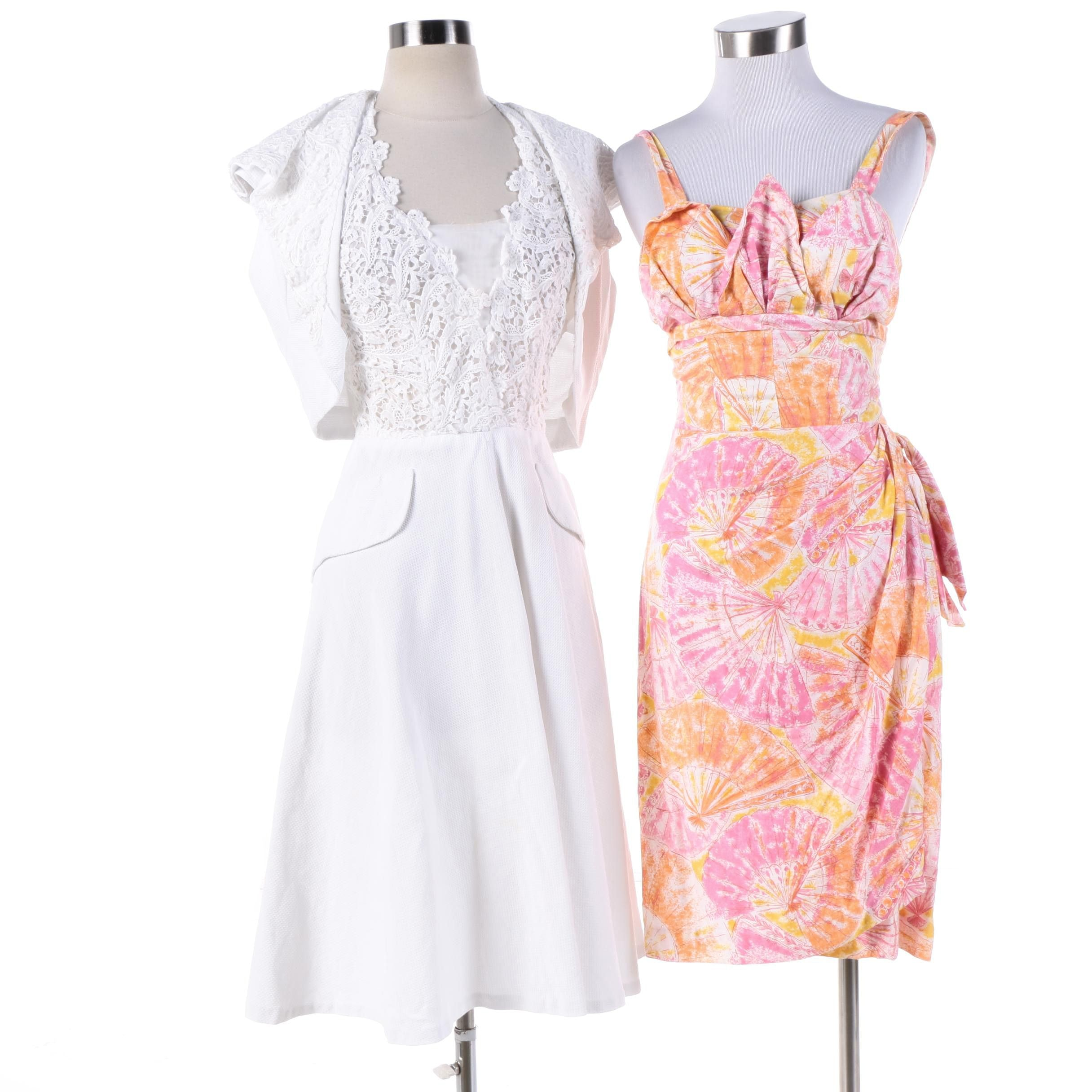1950s Vintage Cotton and Lace Casual Summer Dresses Including Bernardo