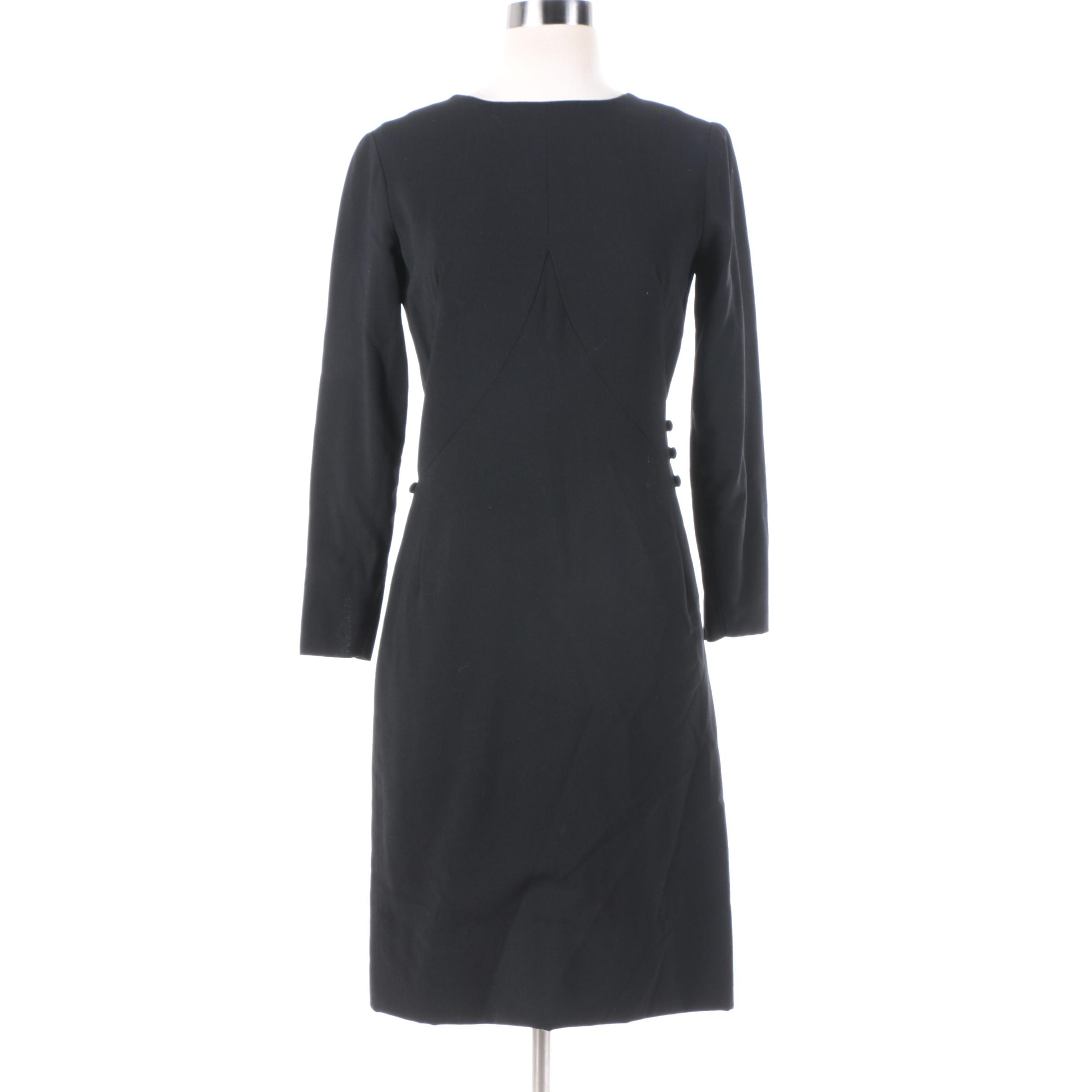 1960s Vintage Balenciaga Black Button Waist Cocktail Dress