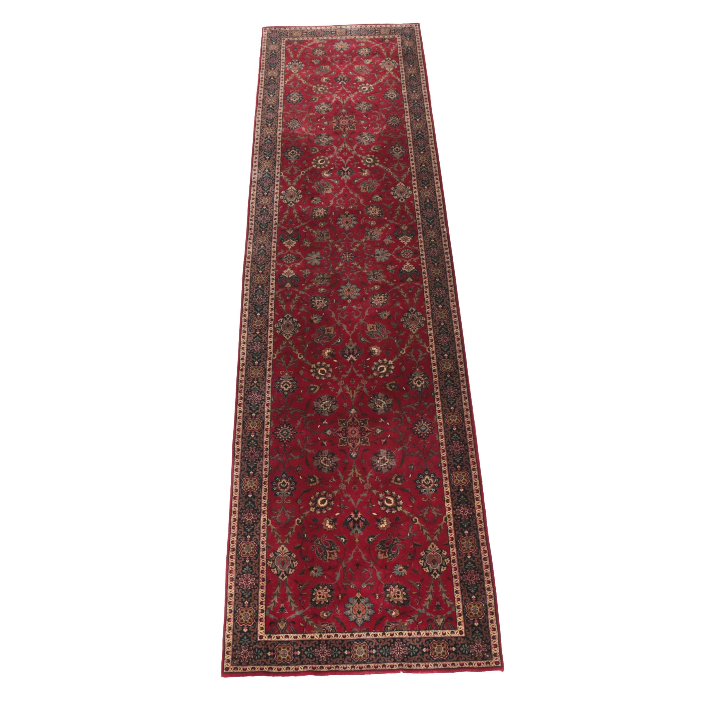 Hand-Knotted Indo-Persian Tabriz Style Wool Palace Sized Runner