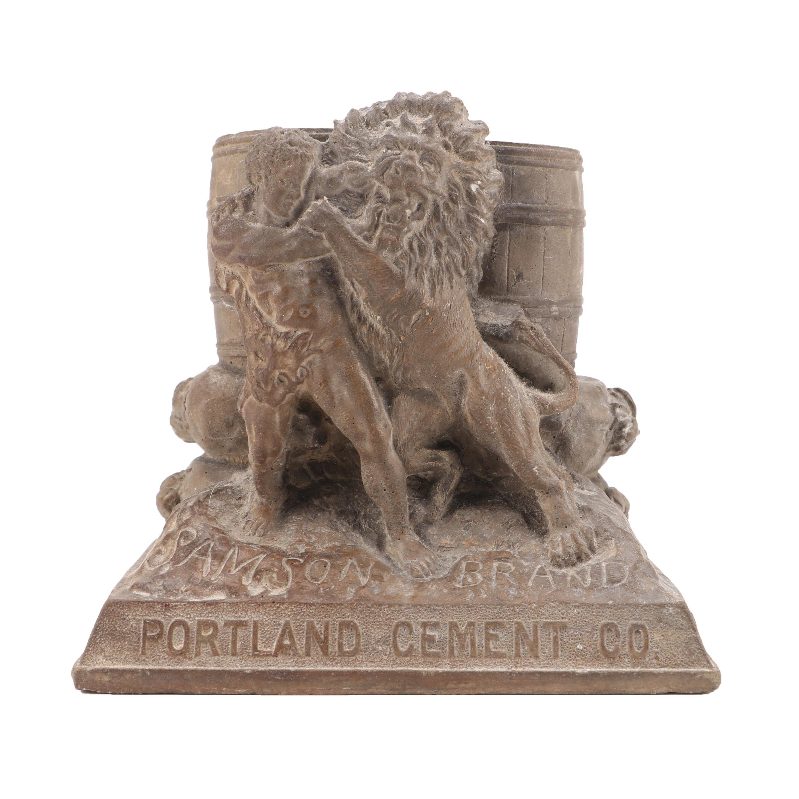 "Portland Cement Co. ""Samson Brand"" Concrete Sculpture of Samson and the Lion"