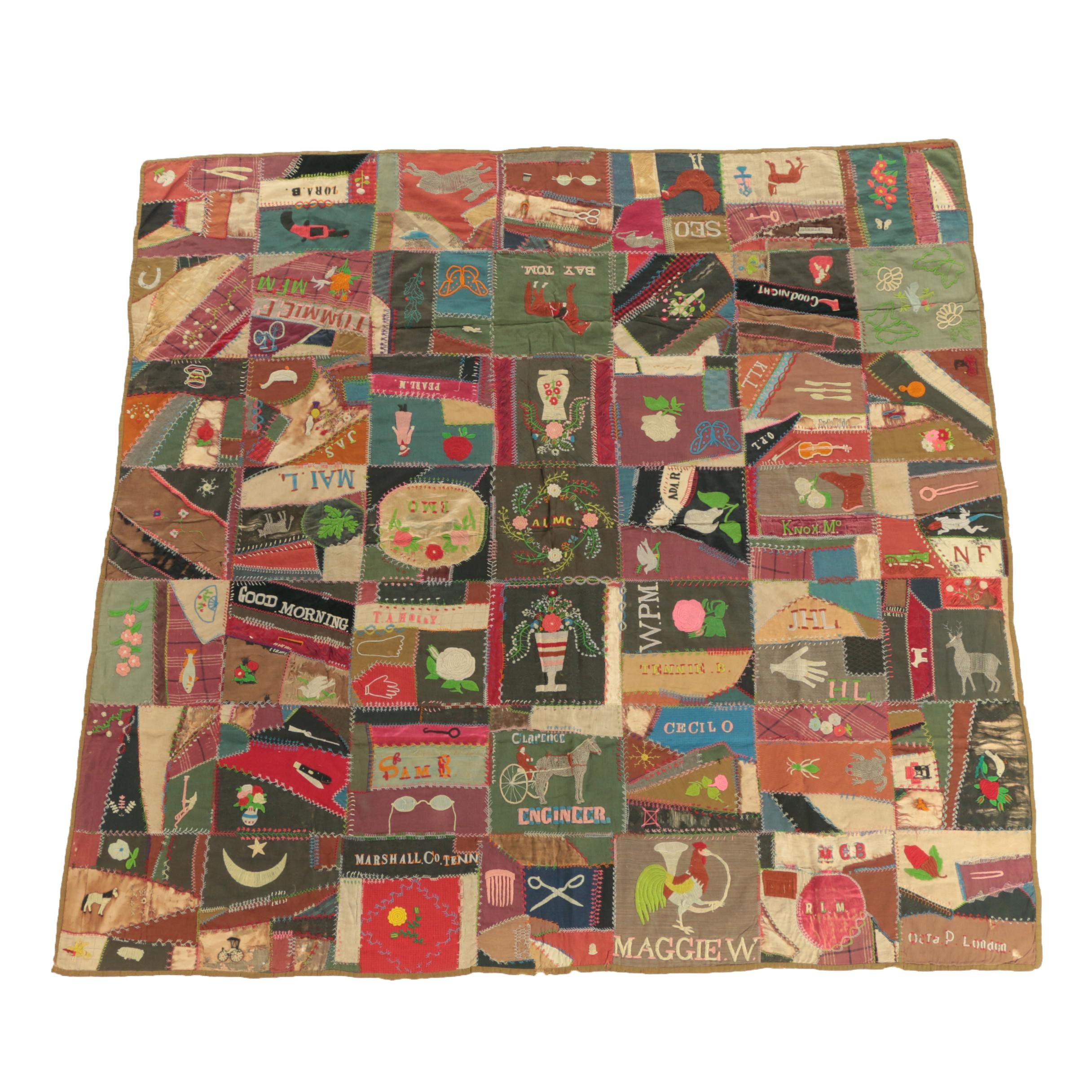 Early 19th Century Hand Made Folk Art Friendship Quilt