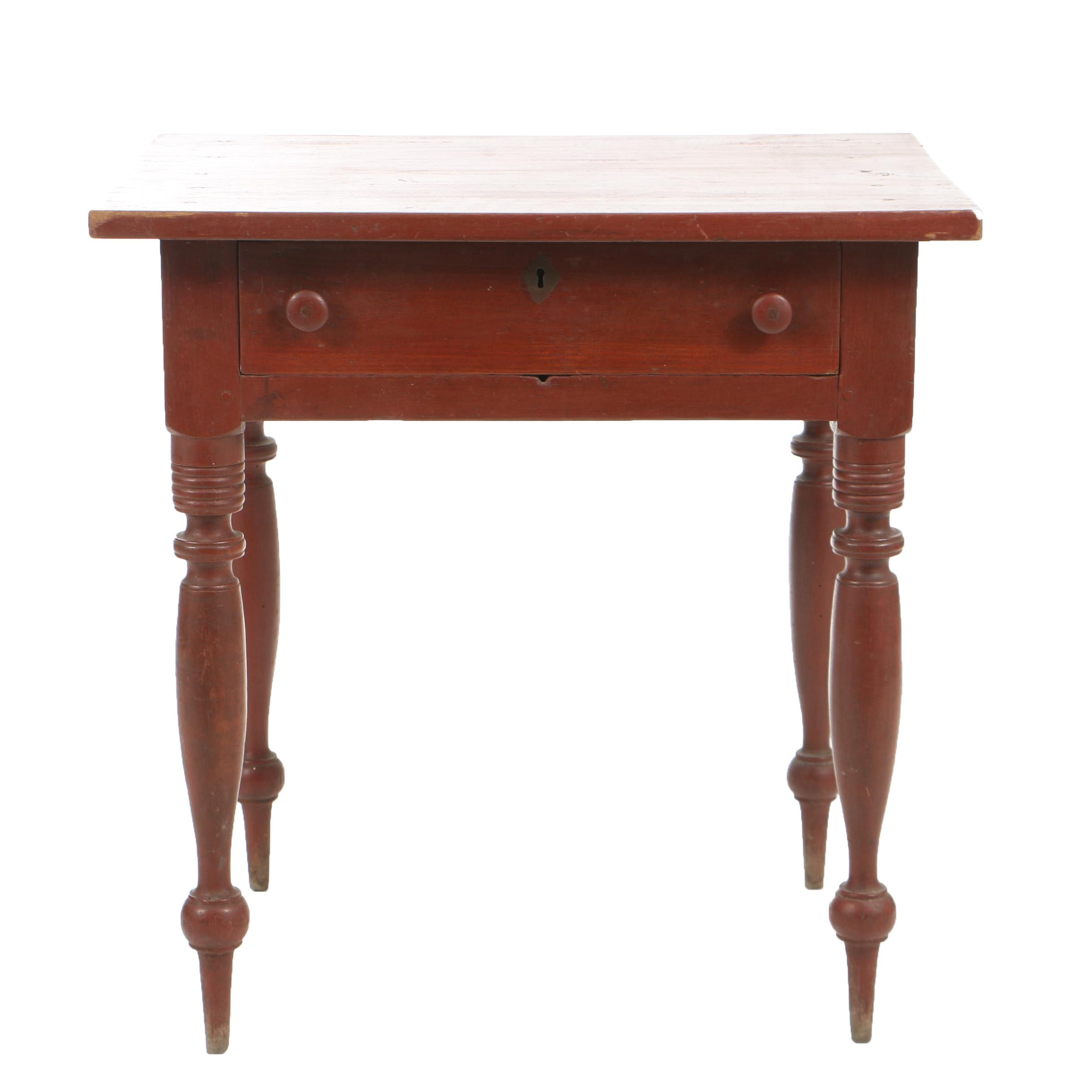 Antique Late Federal Red-Painted One-Drawer Stand