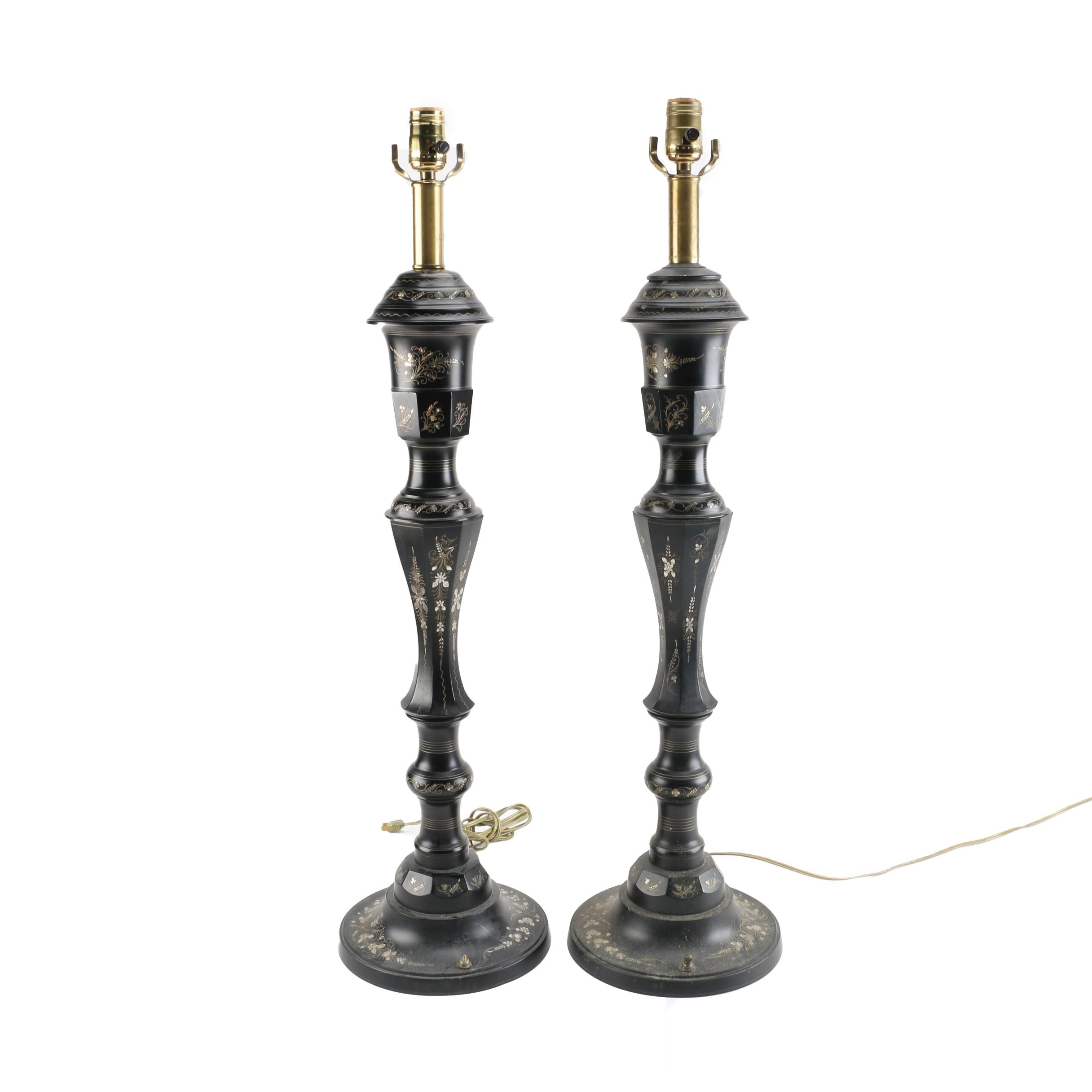 Pair of Black and Silver Toned and Brass Table Lamps