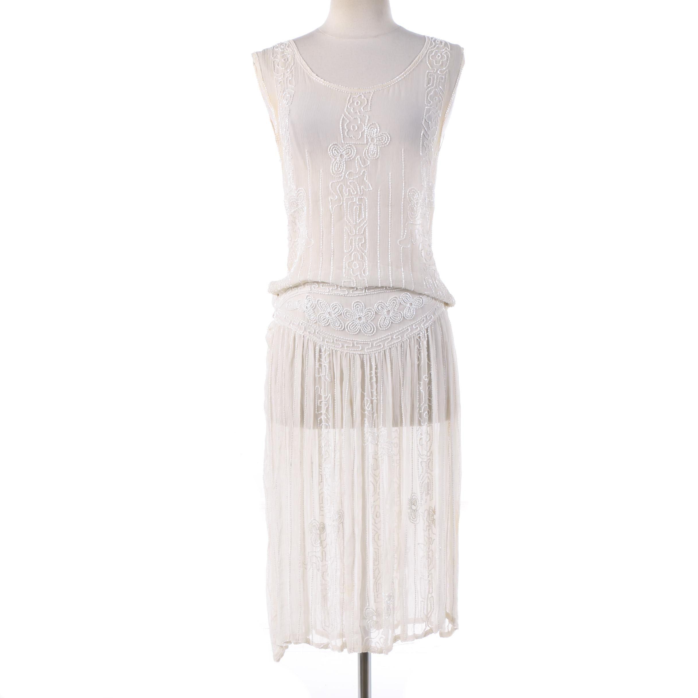 1920s Vintage Art Deco Sheer White Beaded Sleeveless Flapper Dress