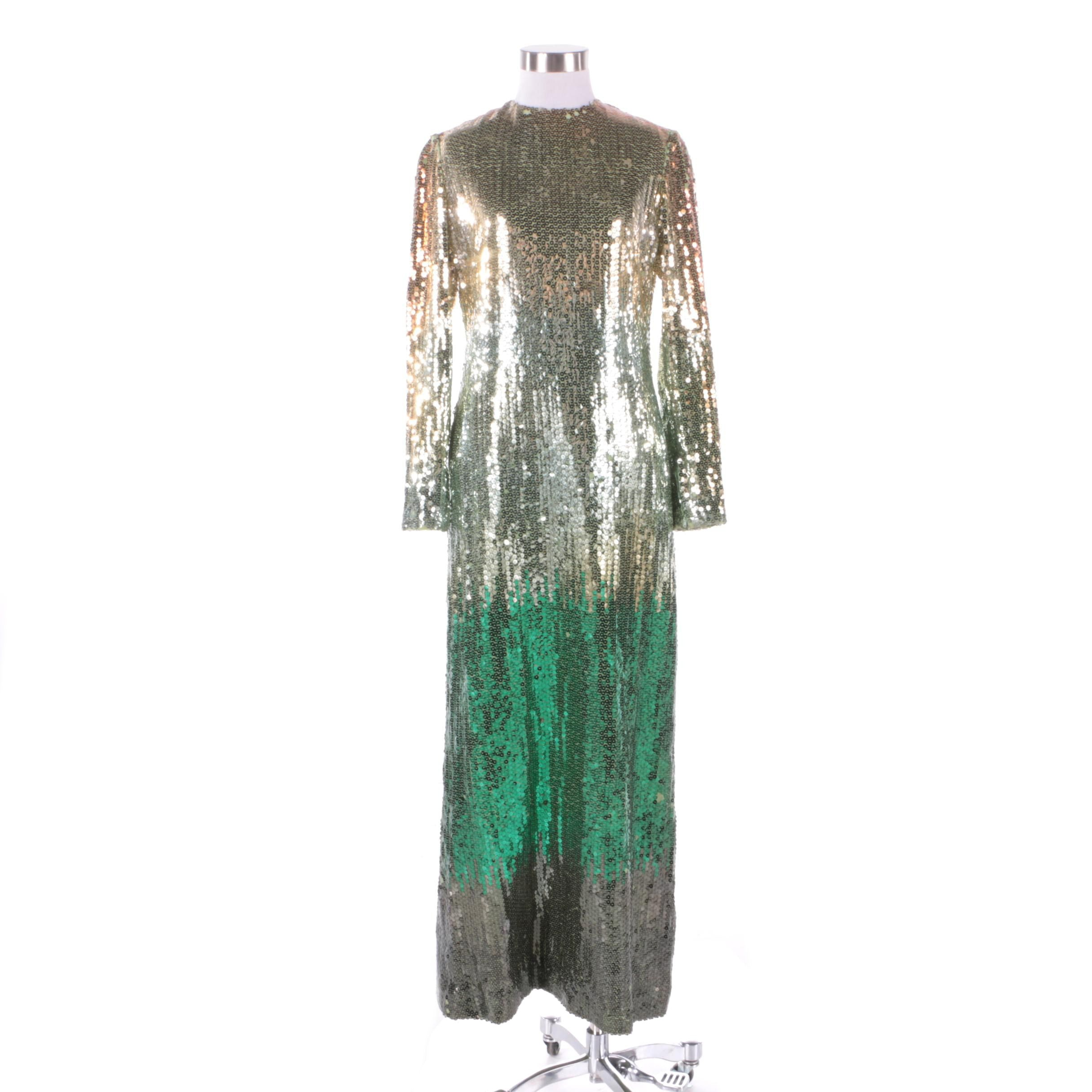 1980s Bill Blass Gold Tone and Emerald Green Ombré  Fully Sequined Evening Dress