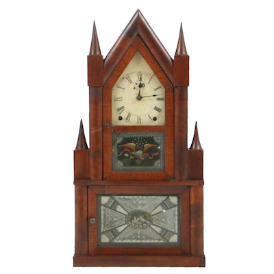 Antique Terry & Andrews Mahogany Steeple-on-Steeple Shelf Clock