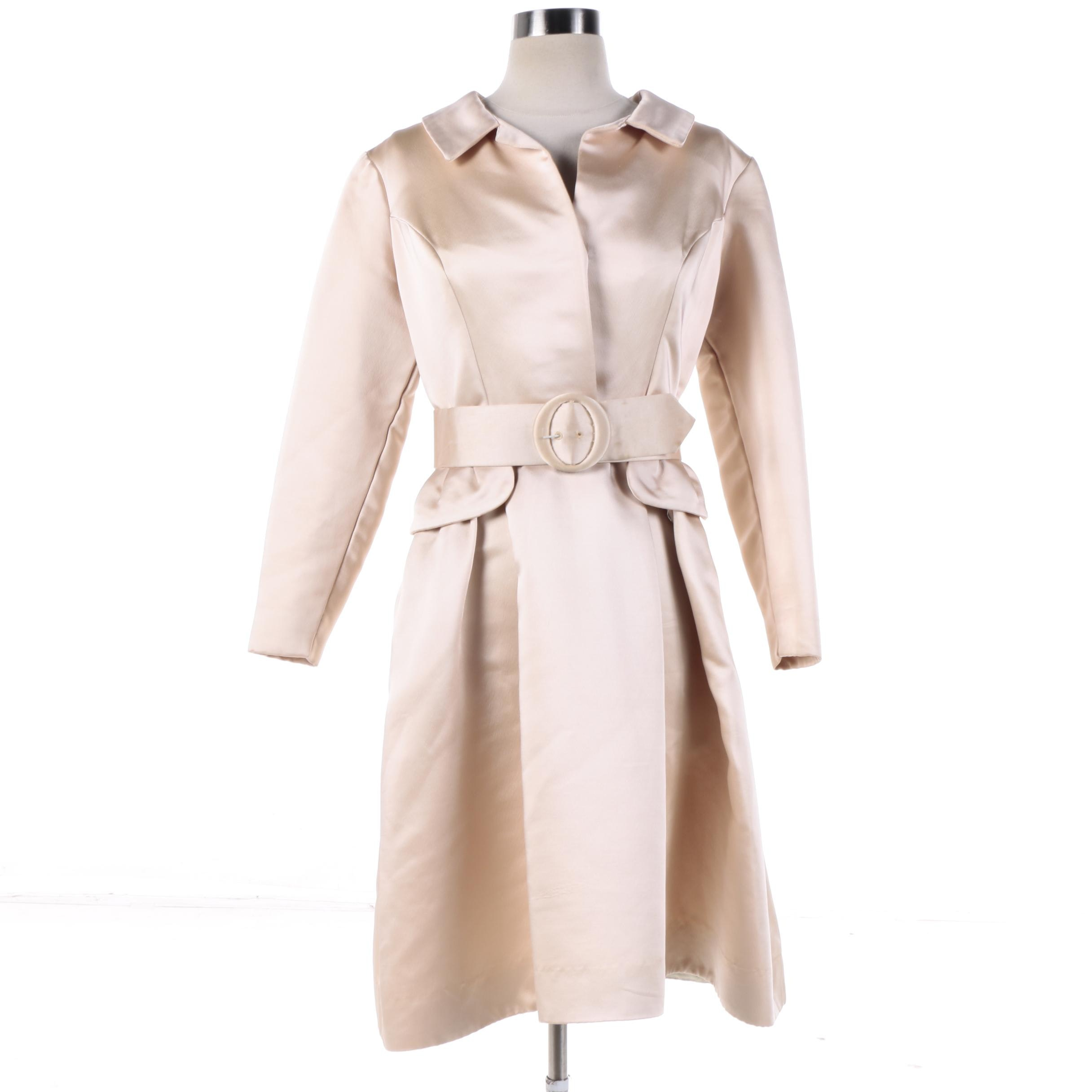 1950s Vintage Moe Nathan of New York Silk Peach Belted Shirt Dress