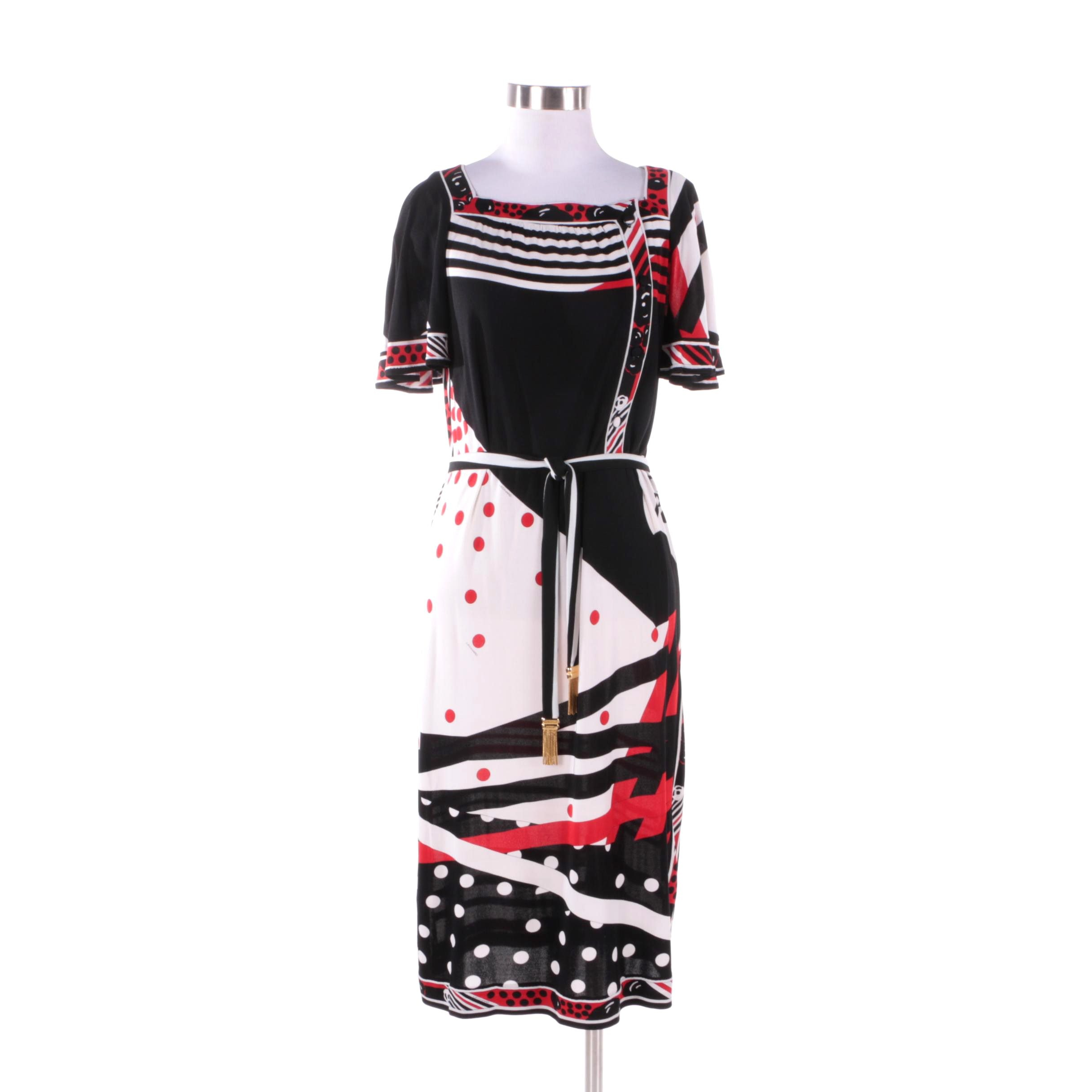 1960s Vintage Leonard Studio Silk Black and Red Mixed Print Dress