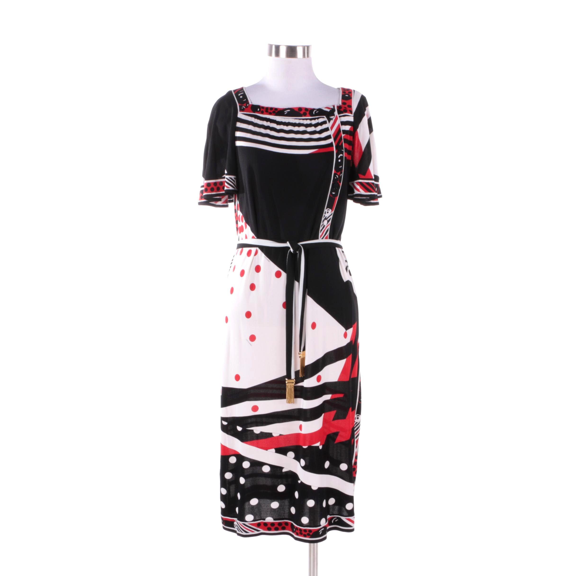 1960s Vintage Leonard Studio Silk Black and Red Mixed Print Dress