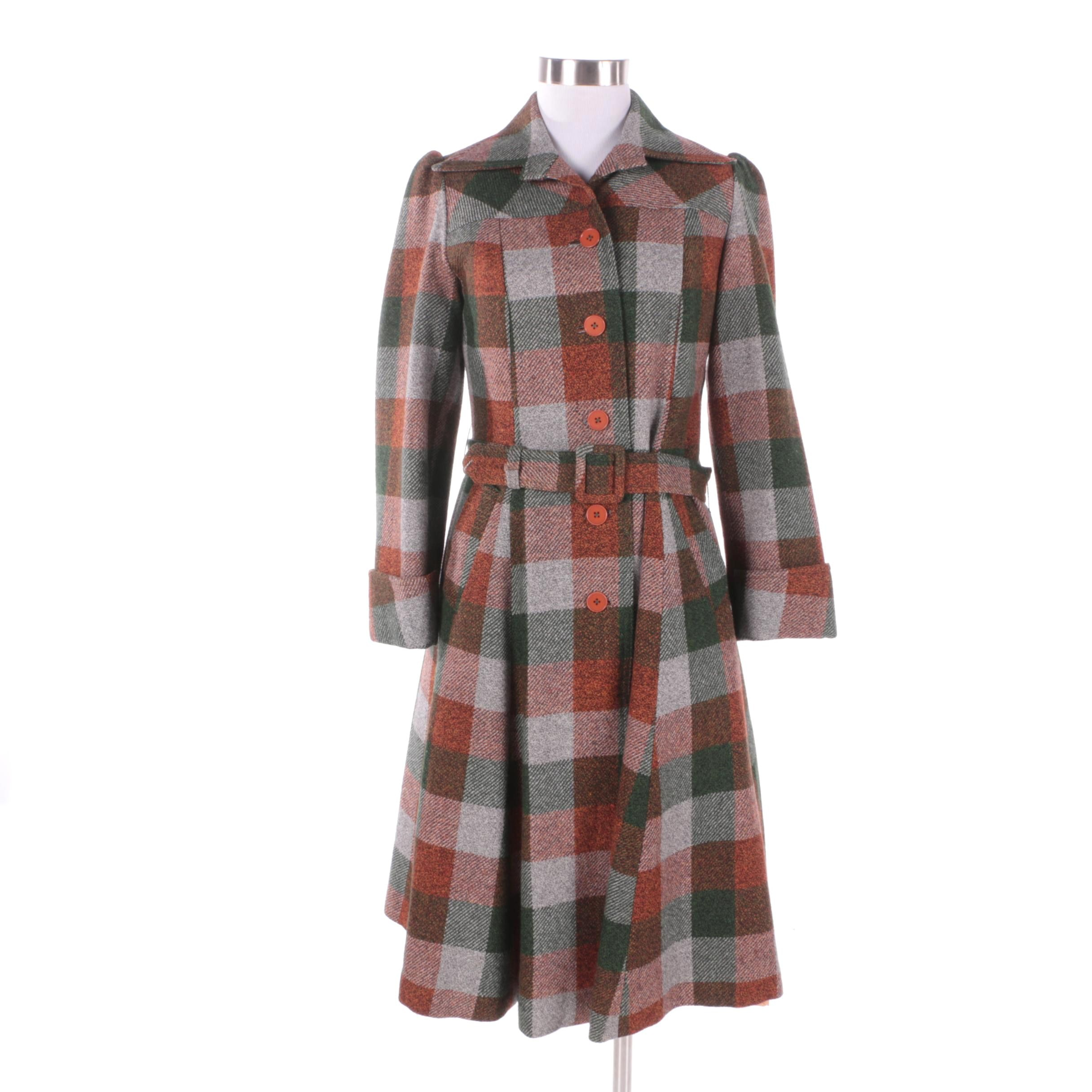 Women's 1950s Vintage Orange and Green Plaid Wool Princess Coat