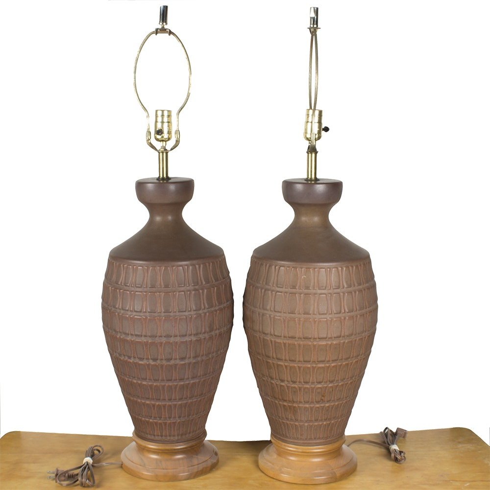 Pair of Earthenware Urn Table Lamps