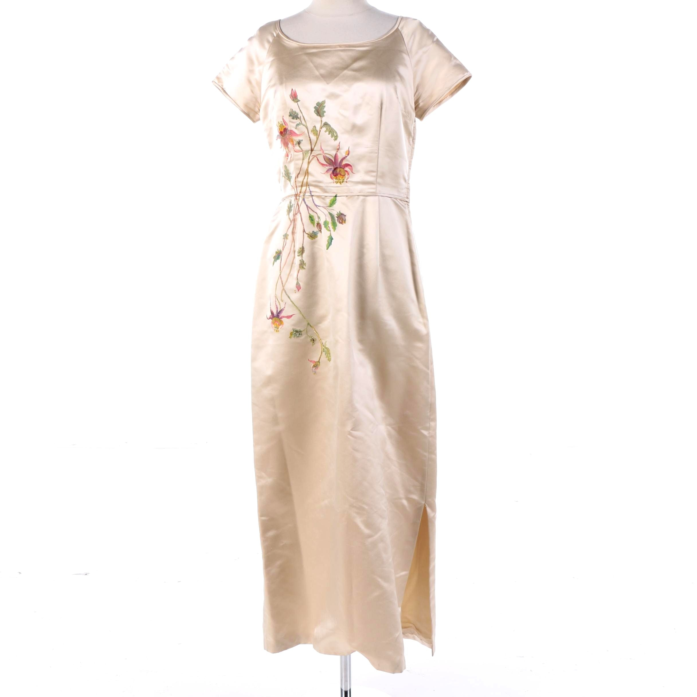 1950s Vintage Mildred Newman Ivory Silk Floral Hand-Painted Cocktail Dress