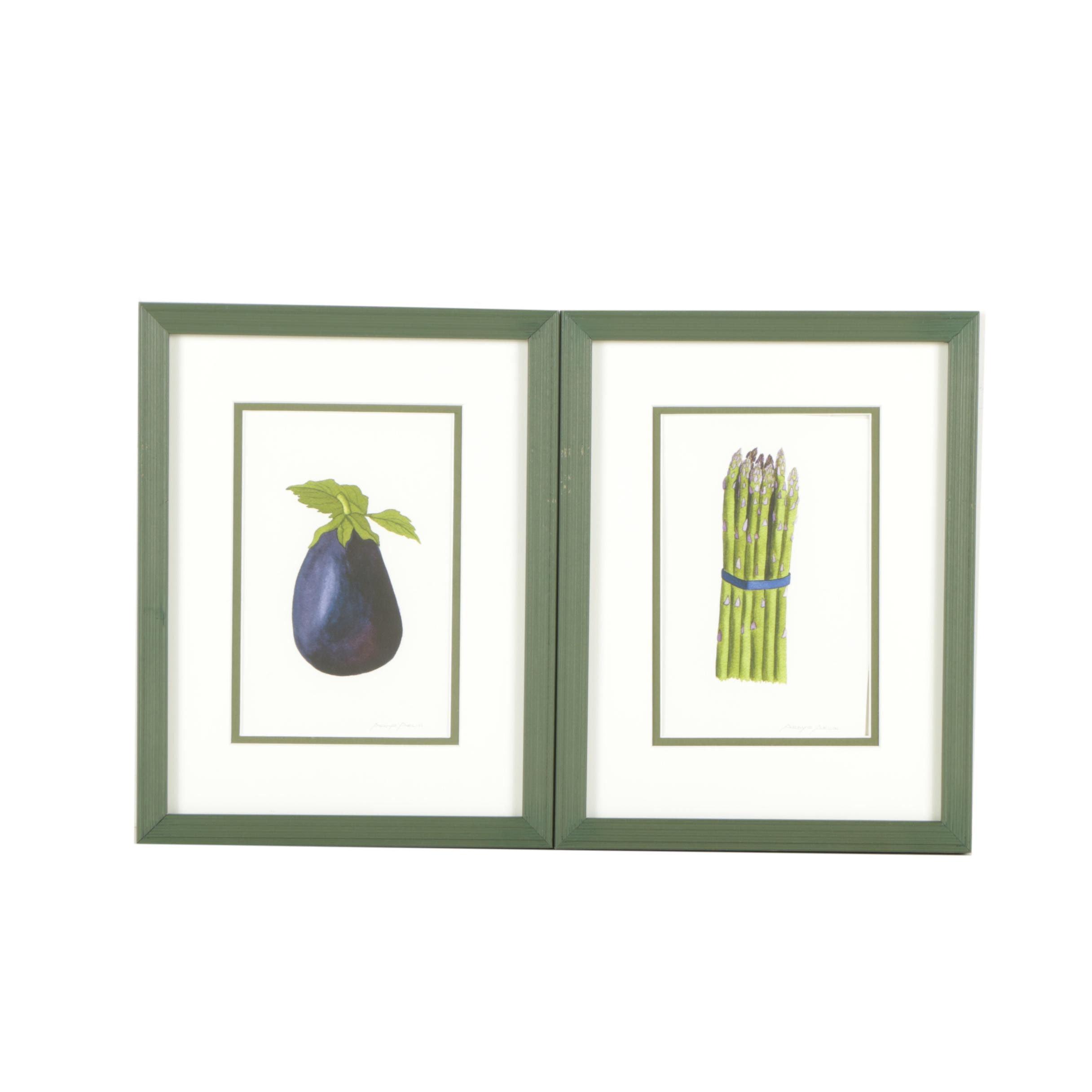 "Ardys Arlin Embellished Giclée Prints ""Asparagus"" and ""Eggplant"""