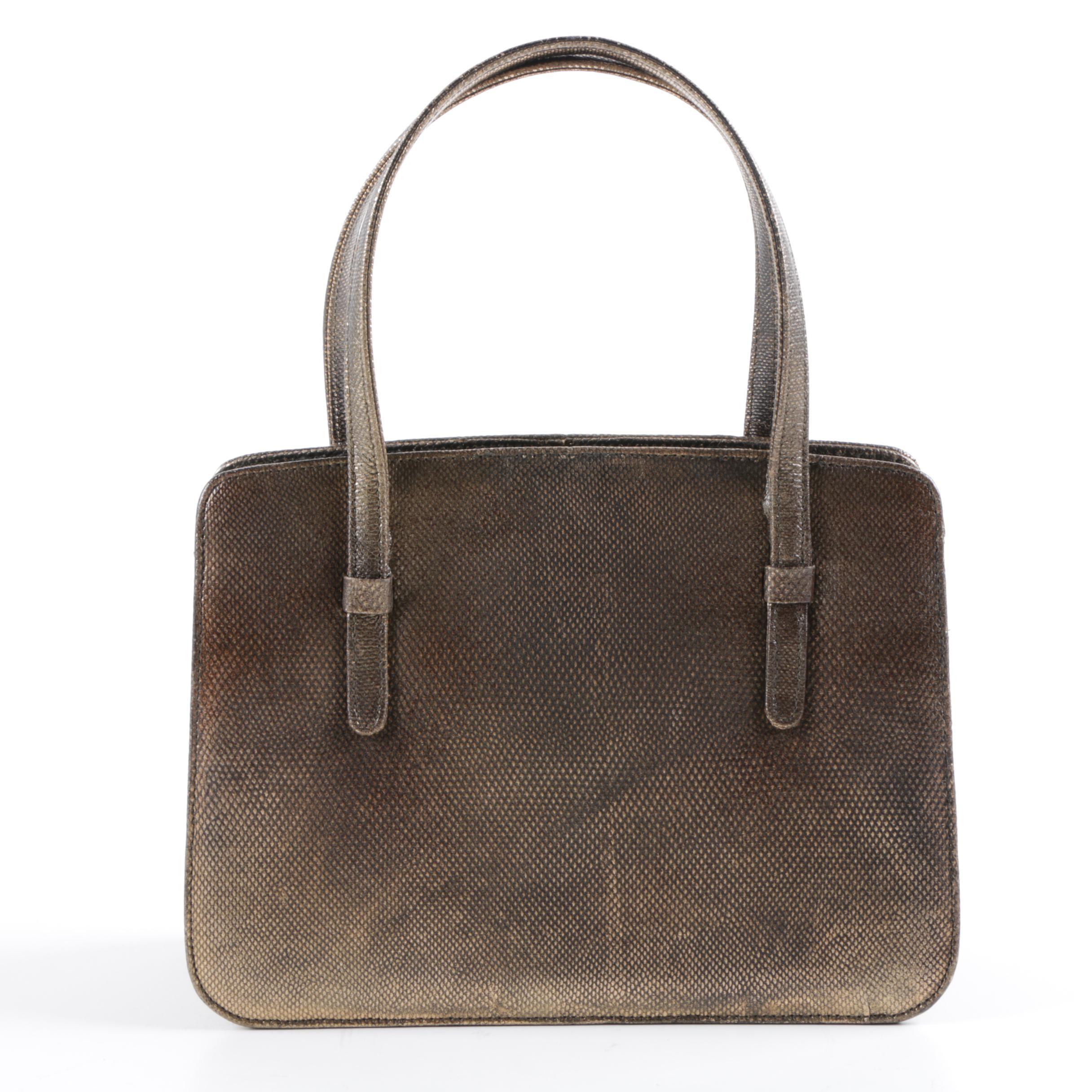Mid-Century Lederer de Paris Copper Reptile Skin Embossed Leather Handbag