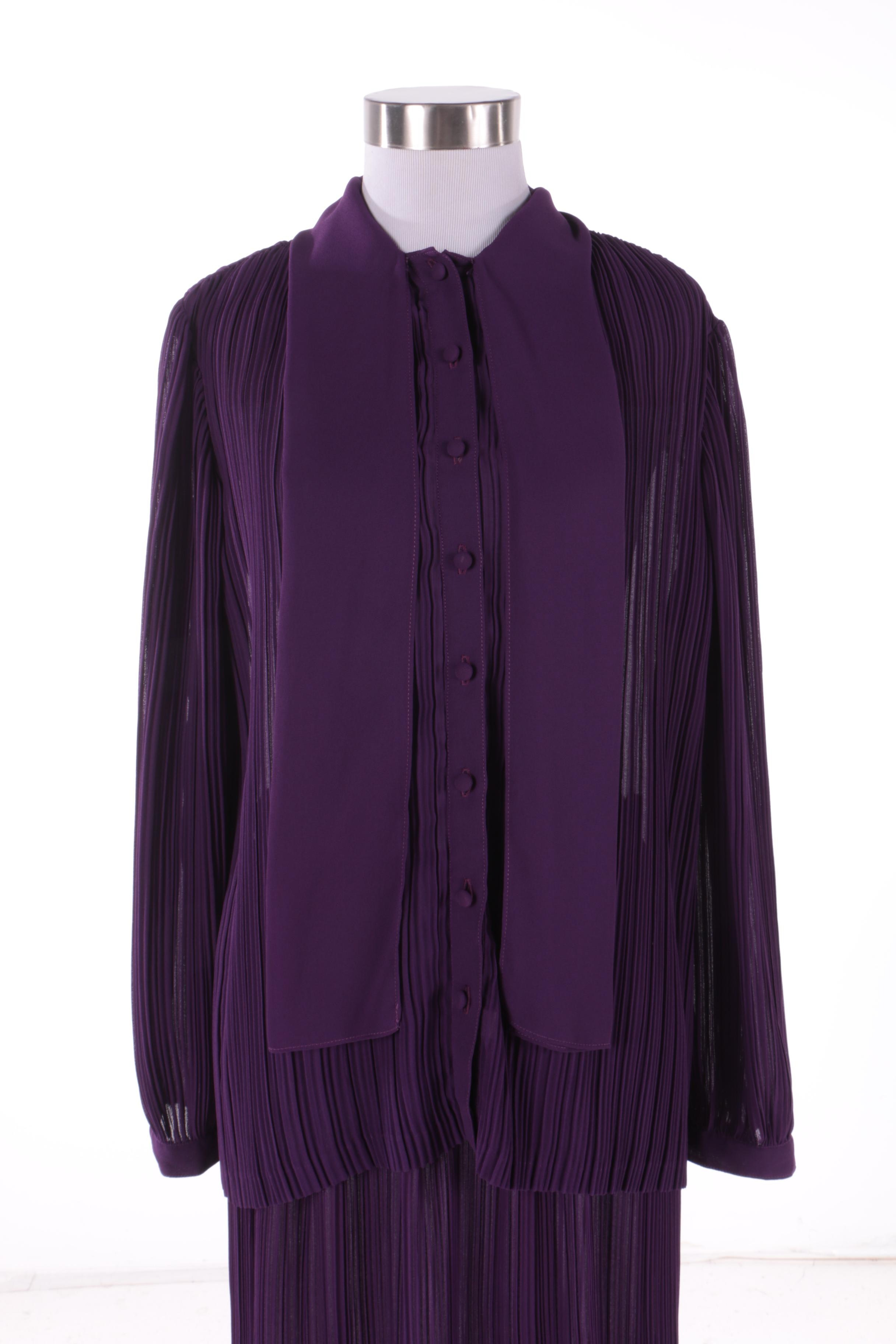 1970s Pauline Trigere for Schrader Purple Pleated Silk Skirt and Blouse Set