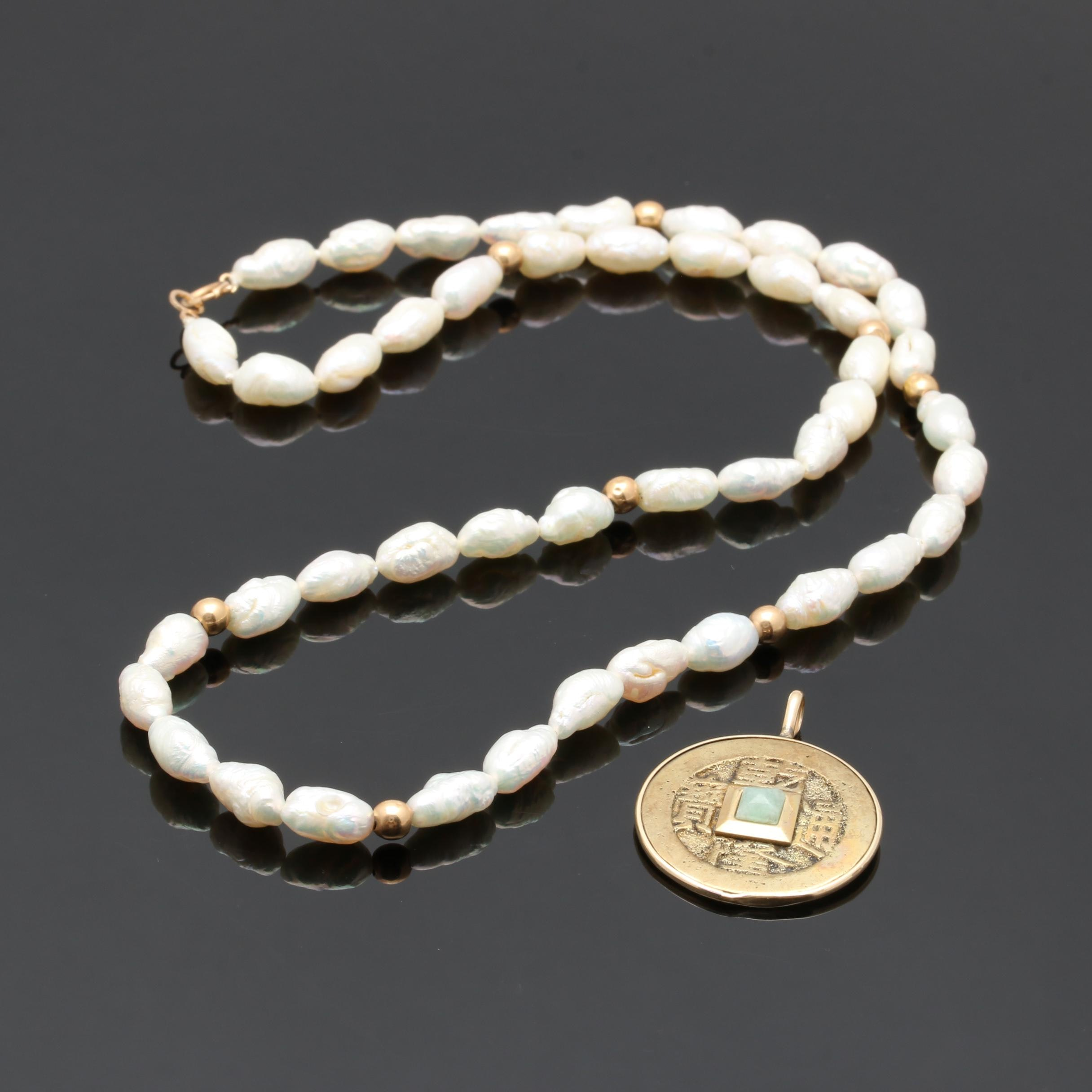 14K Yellow Gold Cultured Pearl Necklace and Gold Tone Jadeite Pendant