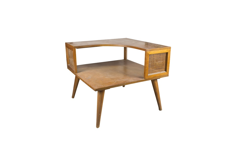 Mid Century Modern Corner Step Back Table
