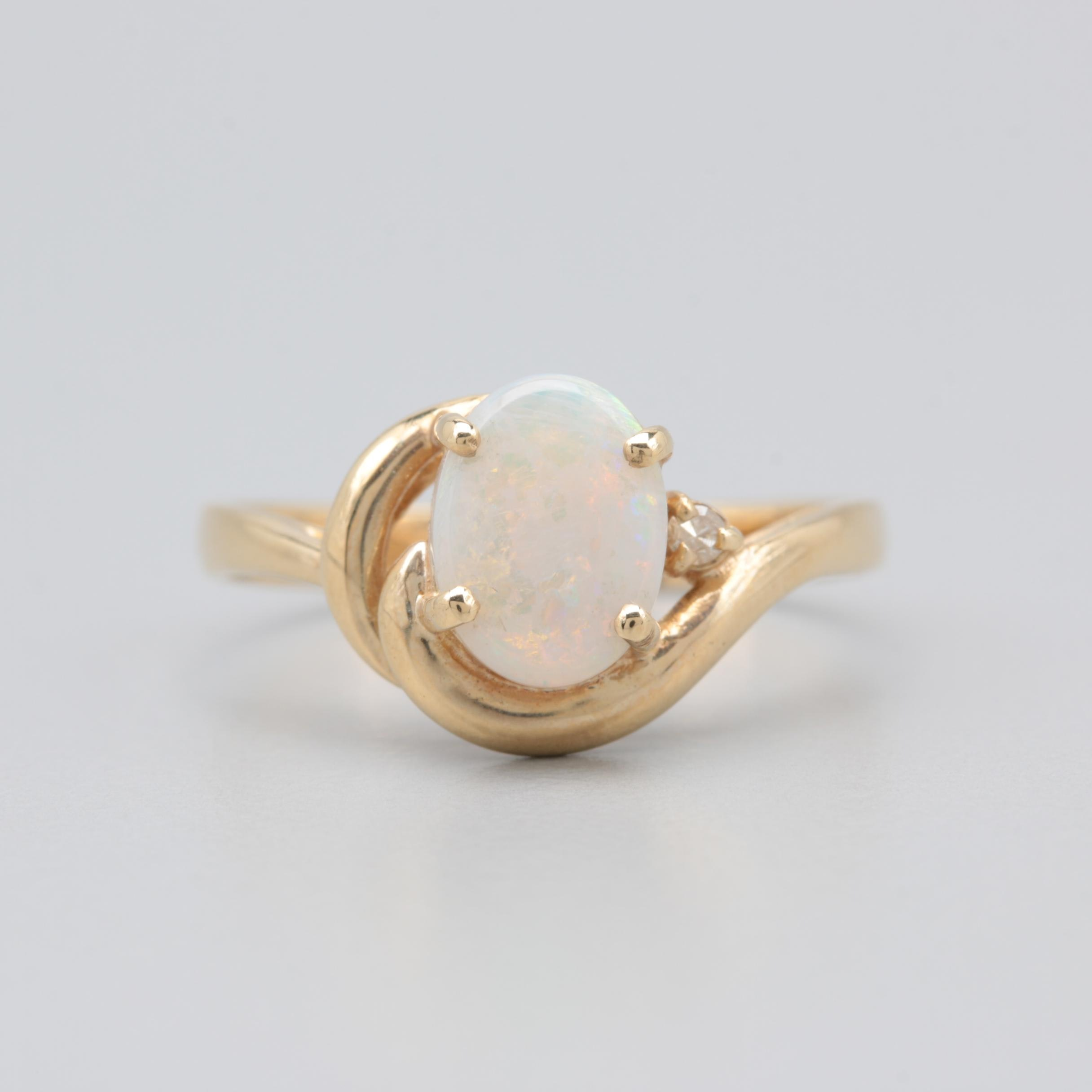 14K Yellow Gold Opal and Diamond Accented Ring