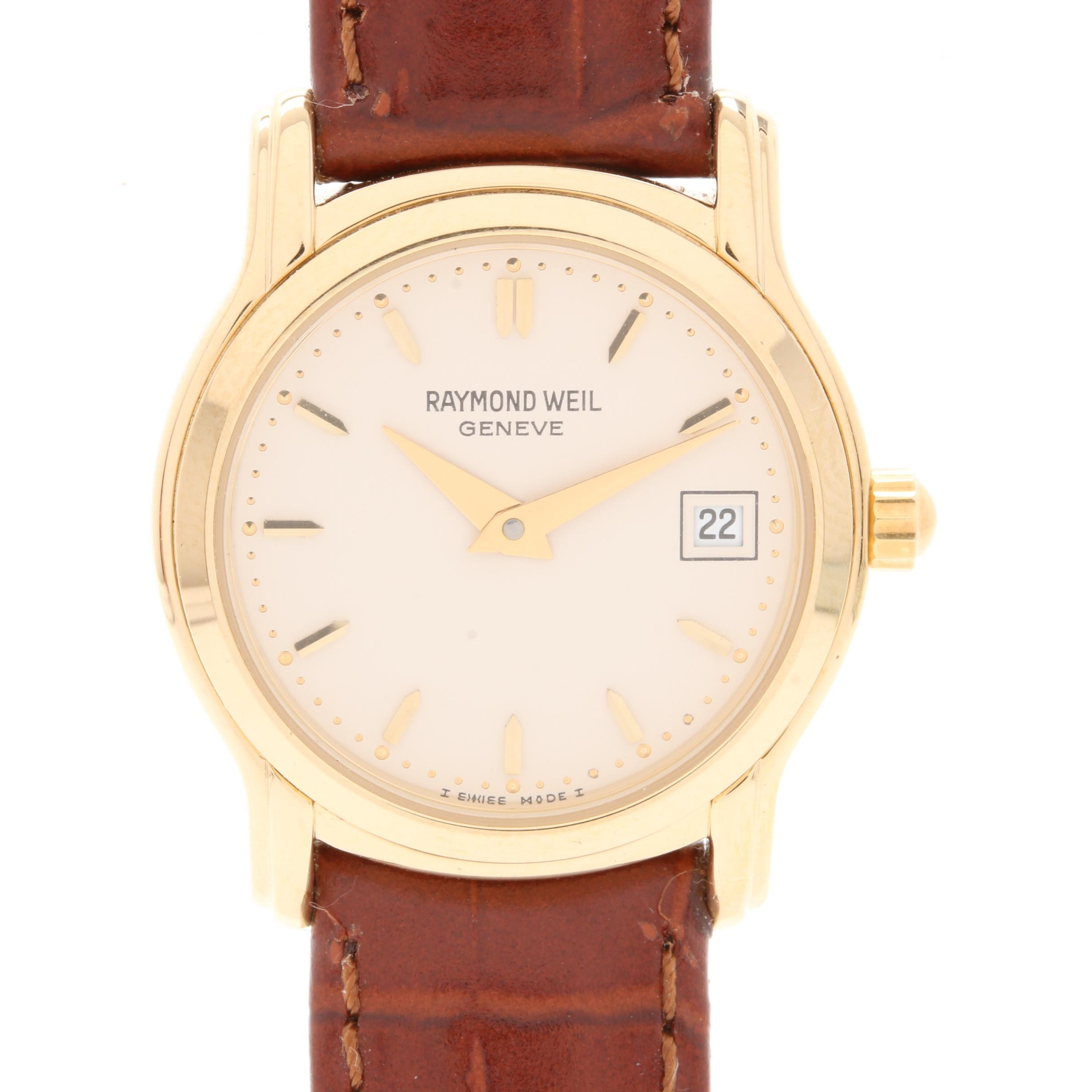 Raymond Weil 5369 Gold Tone Leather Wristwatch