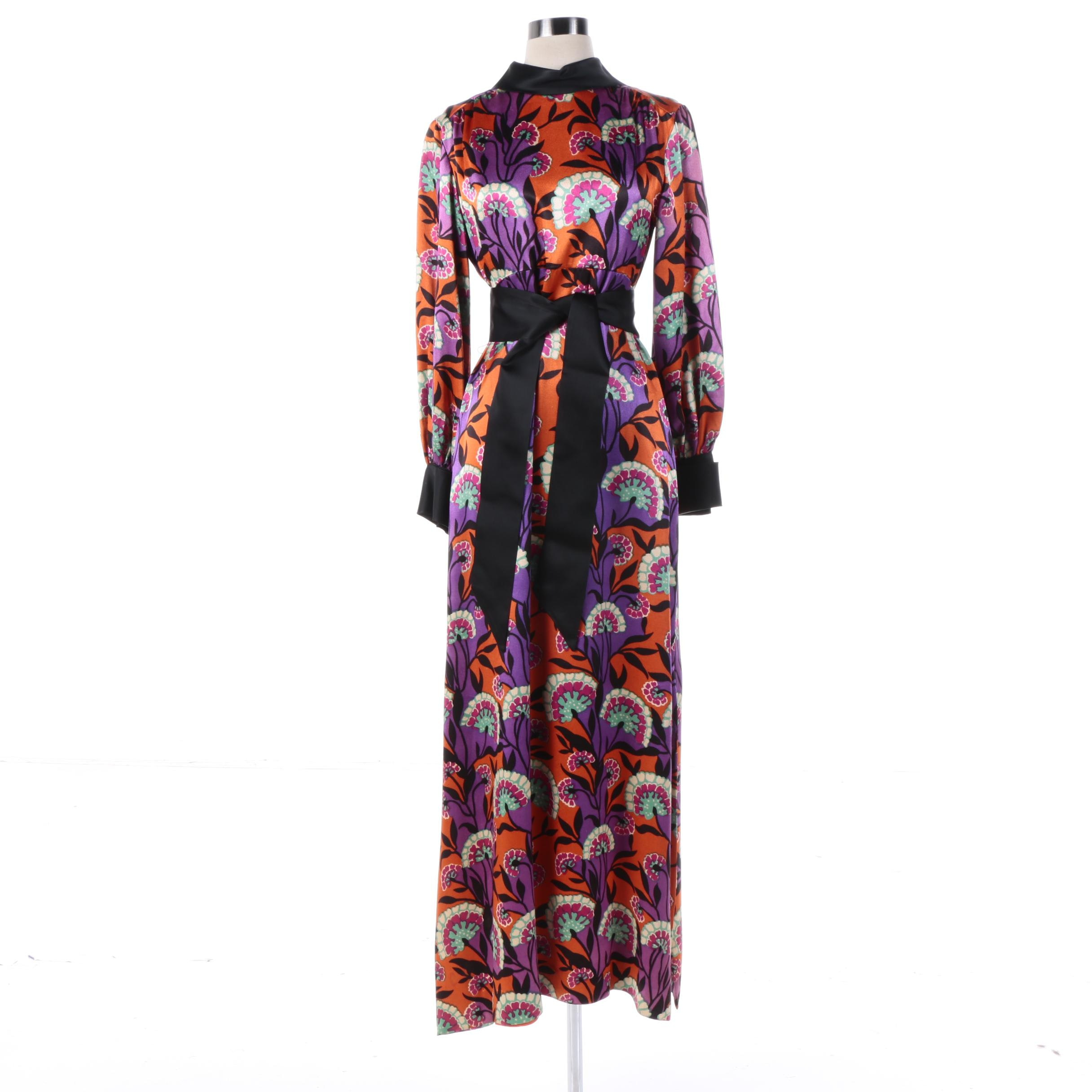 1970s Vintage Stan Herman for Mr. Mort Silk Dramatic Floral Maxi Dress