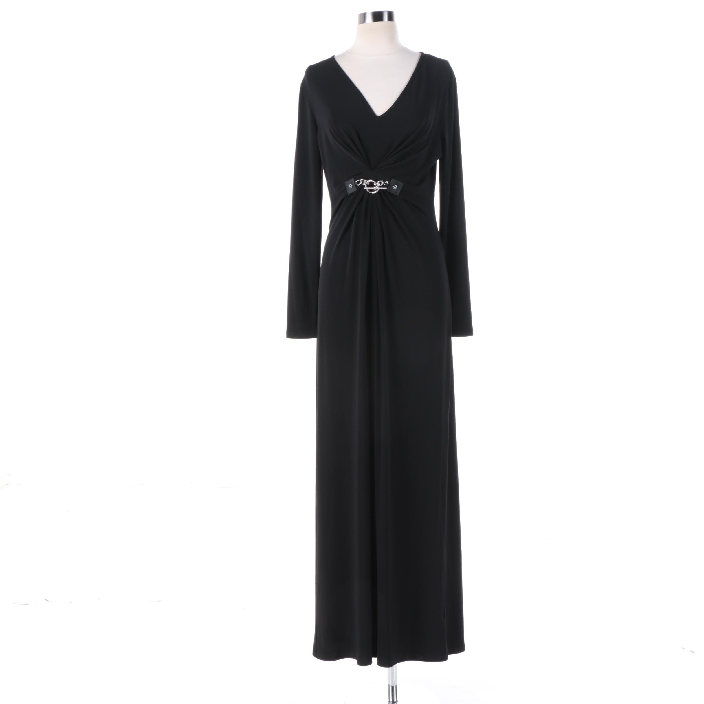 MICHAEL Michael Kors Black Maxi Evening Dress with Belt Detail
