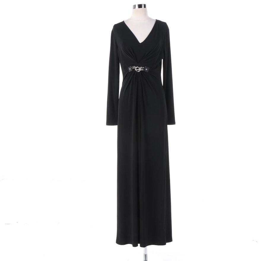 MICHAEL Michael Kors Black Maxi Evening Dress with Belt Detail : EBTH