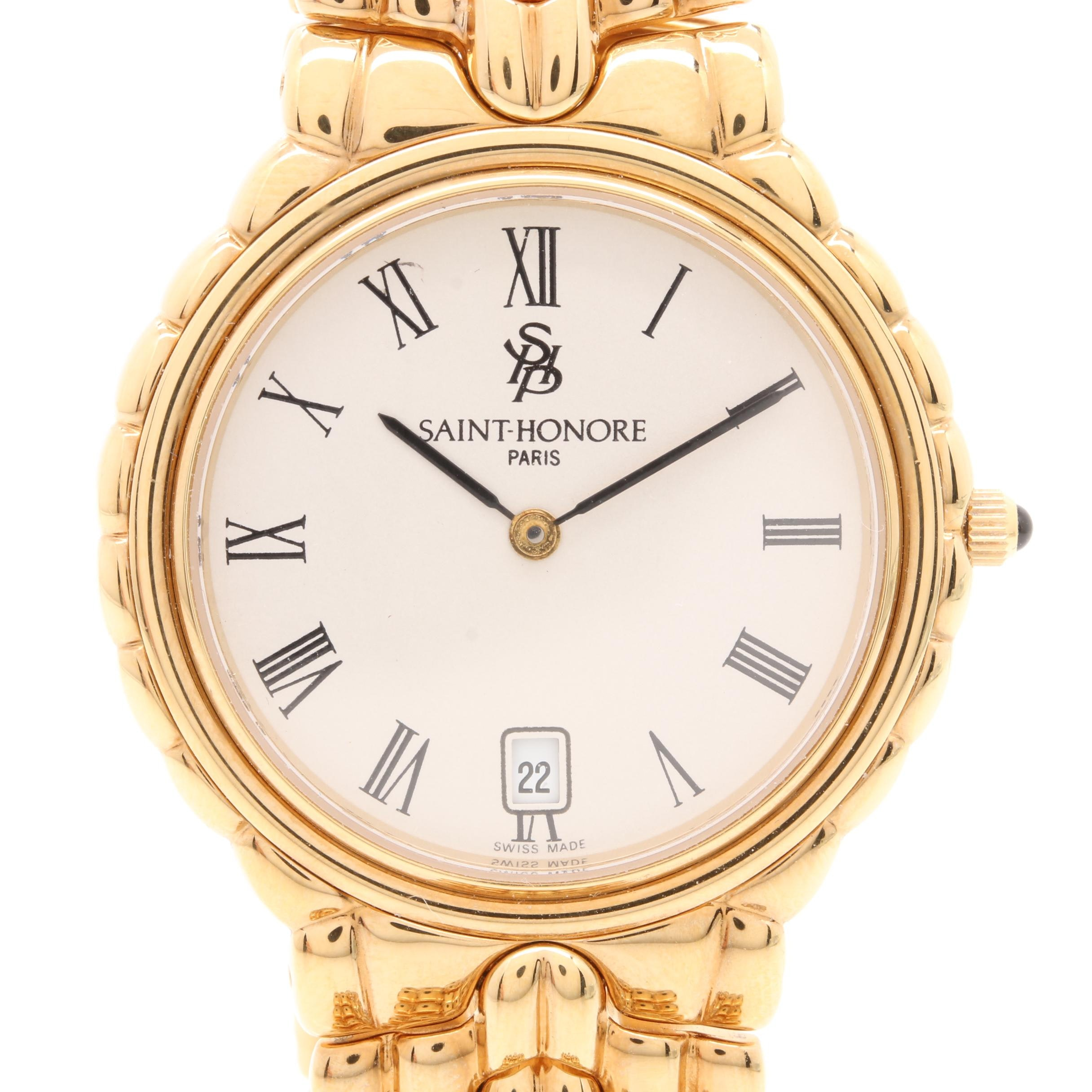 Saint-Honore Gold Tone Dress Wristwatch with Box