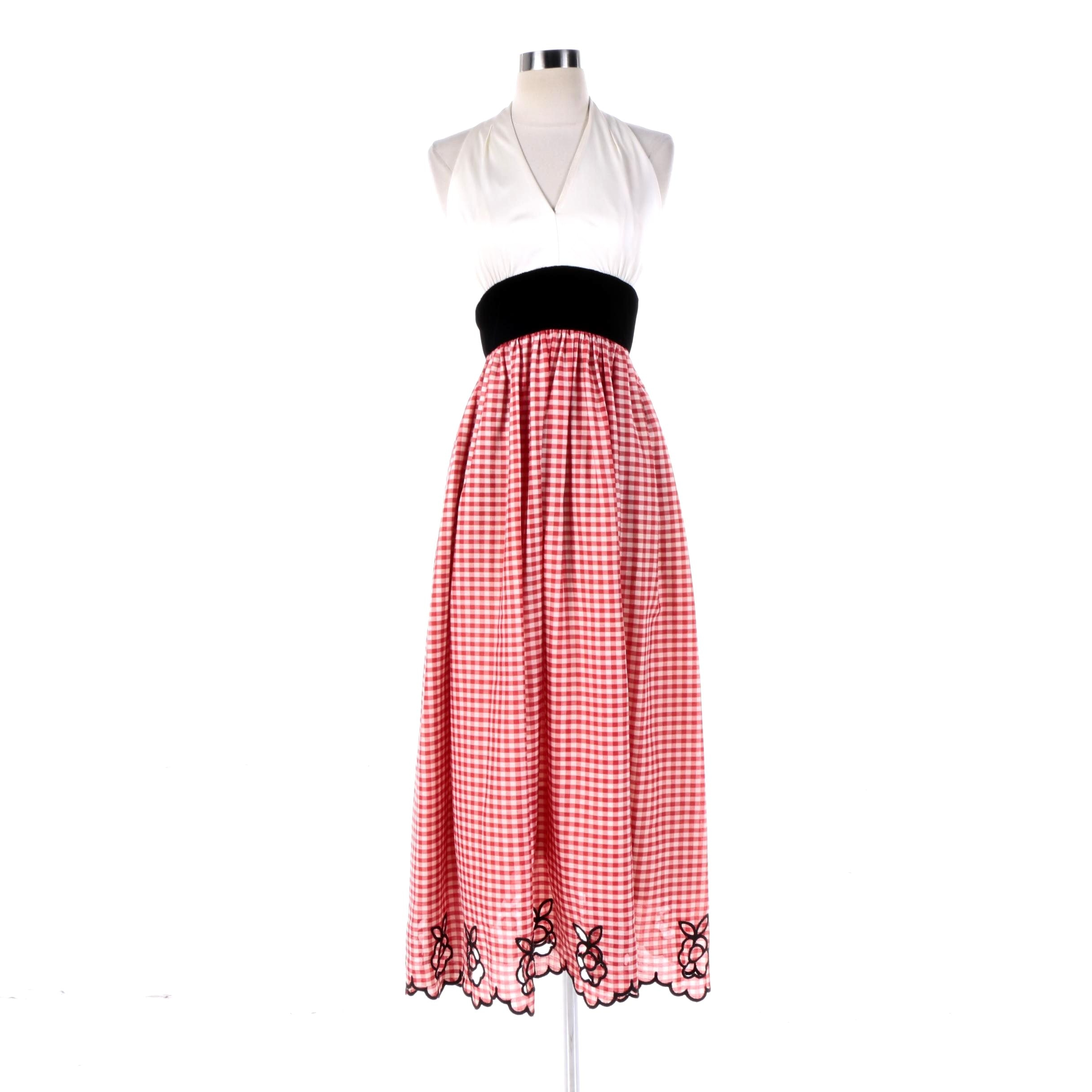 1970s Vintage Custom Halter Dress with Gingham Print Floral Cut Out Skirt