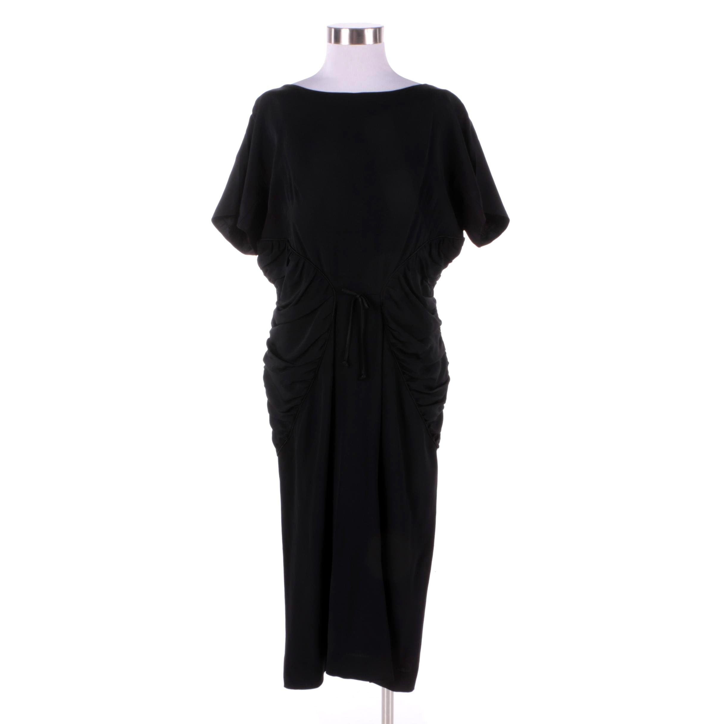 1930s Vintage Black Bias Cut Cocktail Dress with Ruched Sides