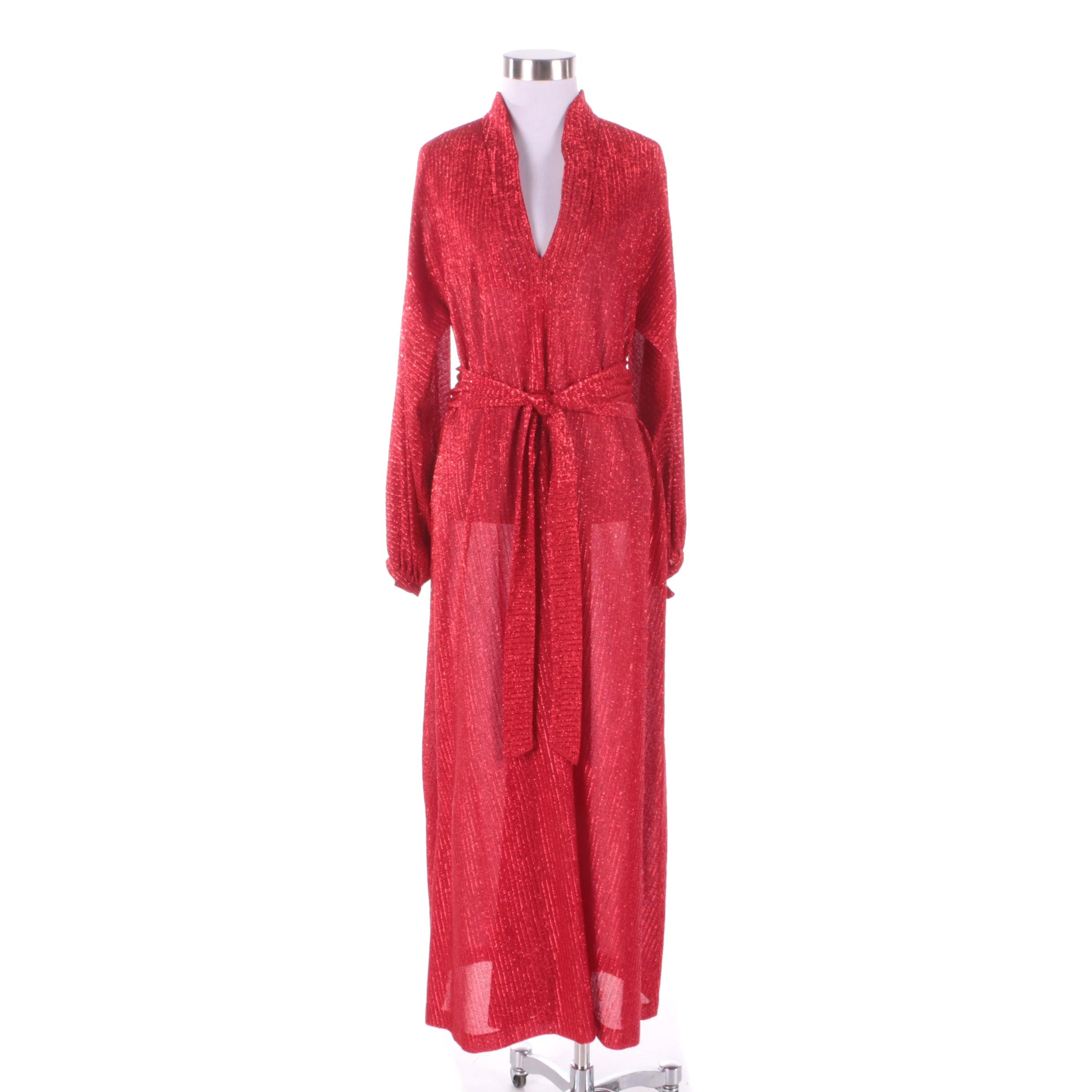 1970s Vintage Halston IV Red Dress with Metallic Threading