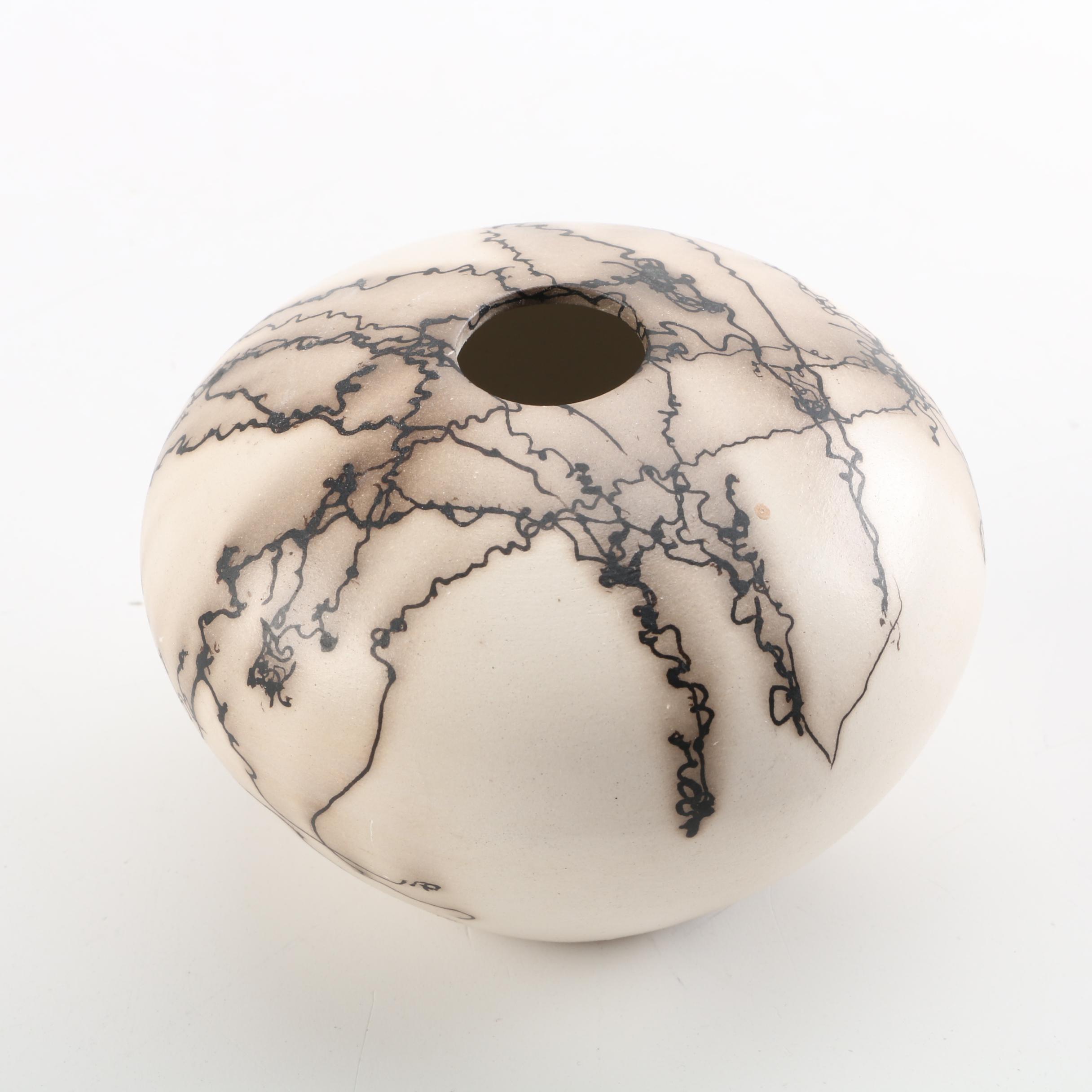 Signed Horsehair Raku Fired Ikebana Orb Vase