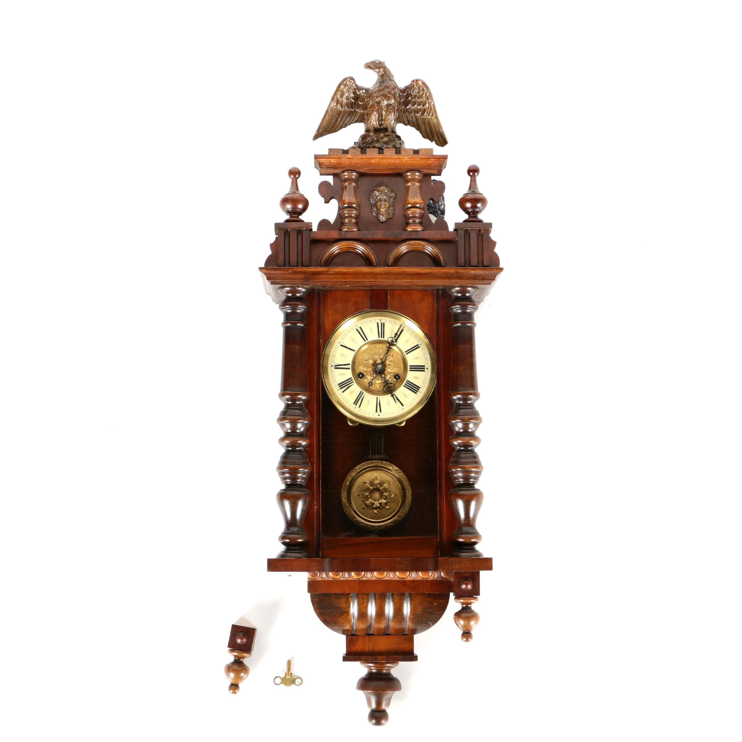 Viennese Style Wooden Wall Clock