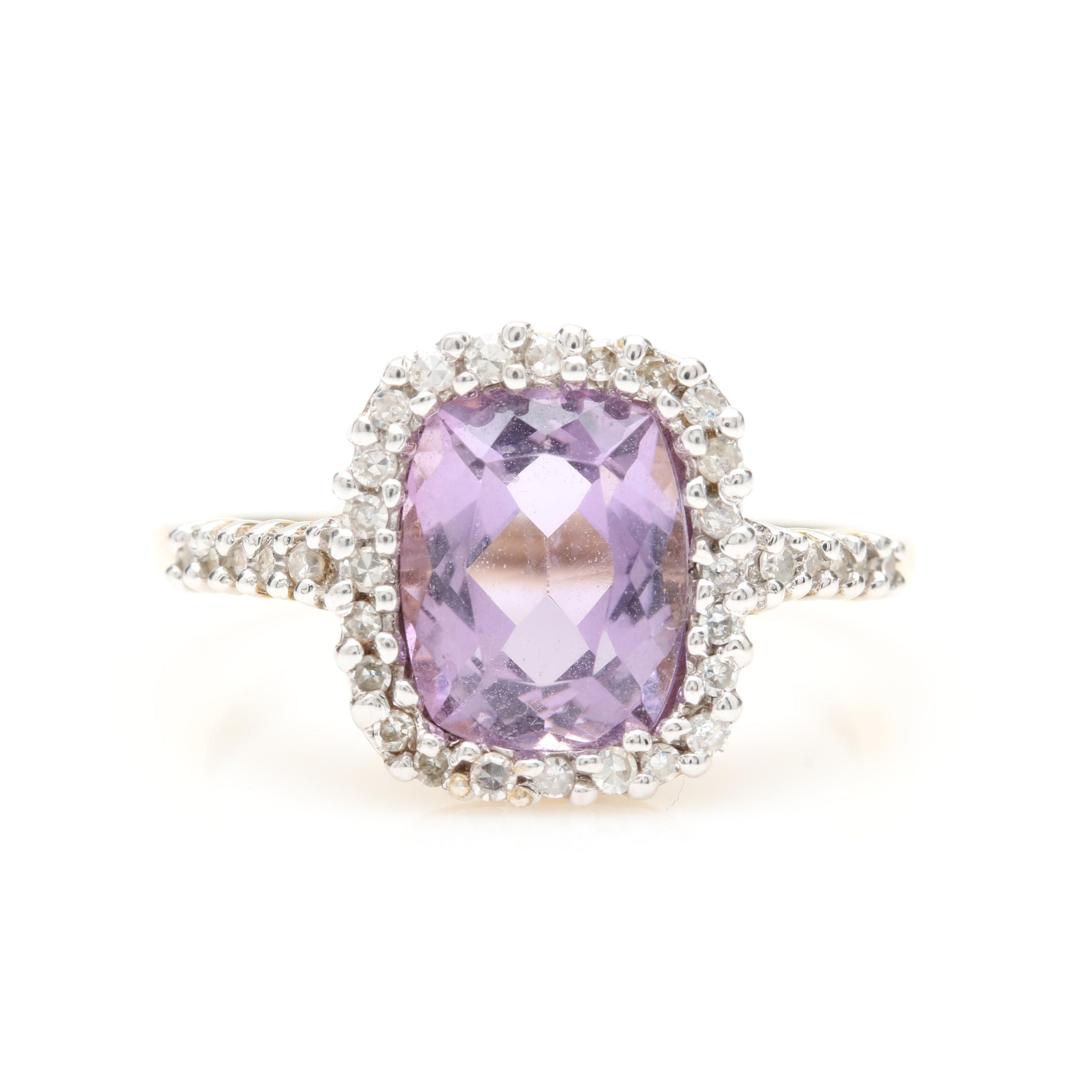 9K Yellow Gold Amethyst and Diamond Ring with 9K White Gold Accents