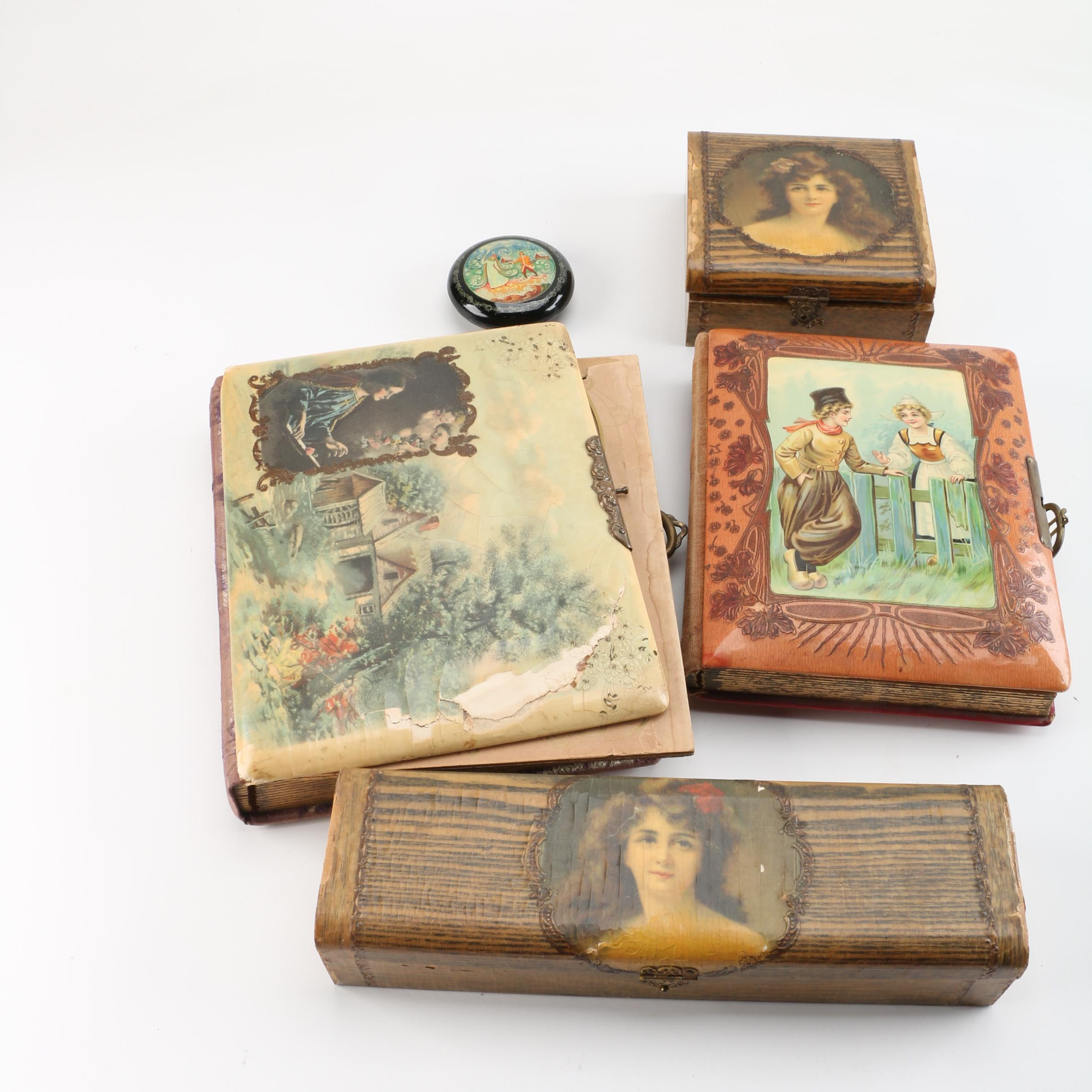 Vintage Early Plastic Portrait Boxes and Albums, and Soviet Trinket Box