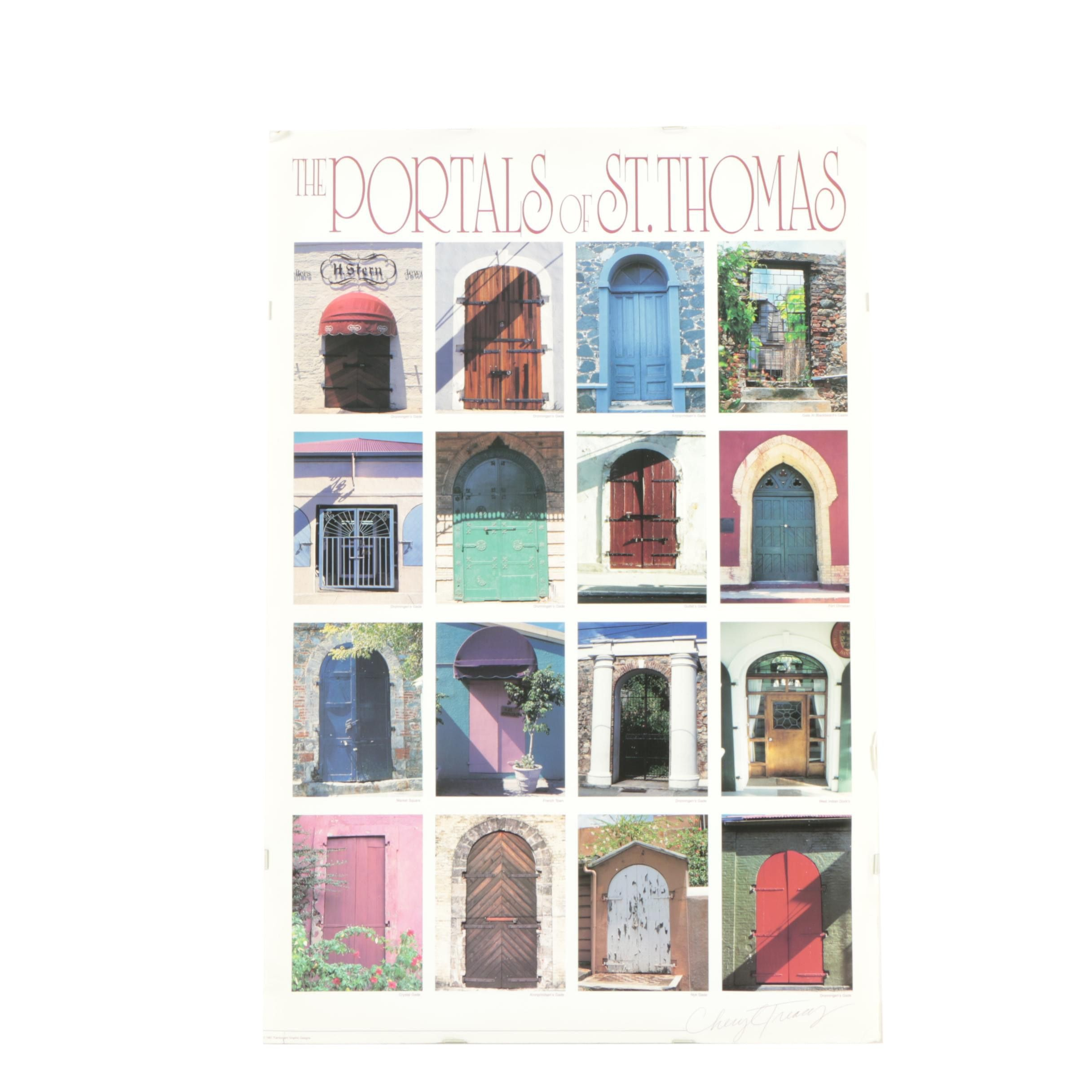"""Vintage Offset Lithograph Poster """"The Portals Of St. Thomas"""""""