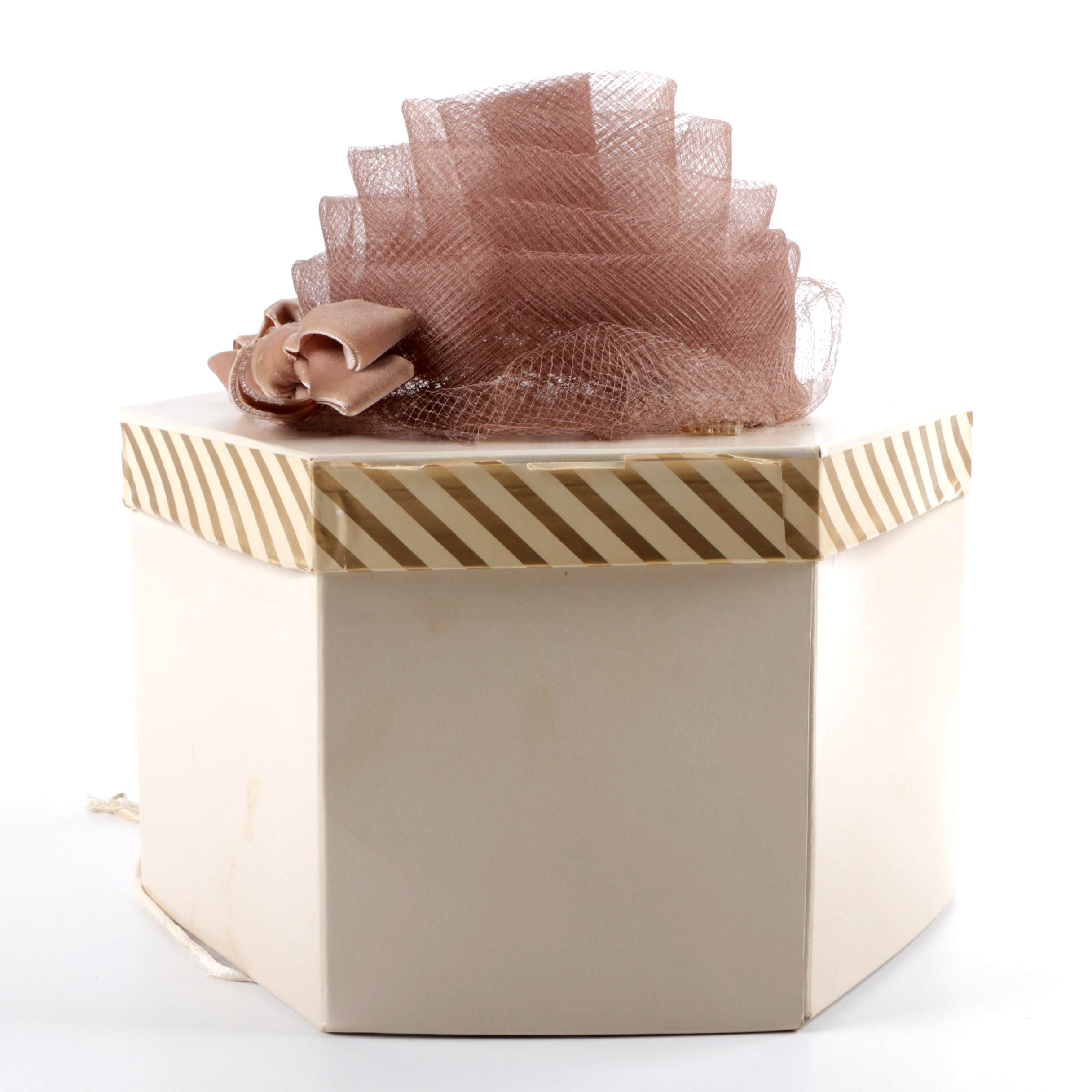 Vintage Kurli-Kutes Taupe Mesh Turban Hat with Velvet Bow and Hat Box